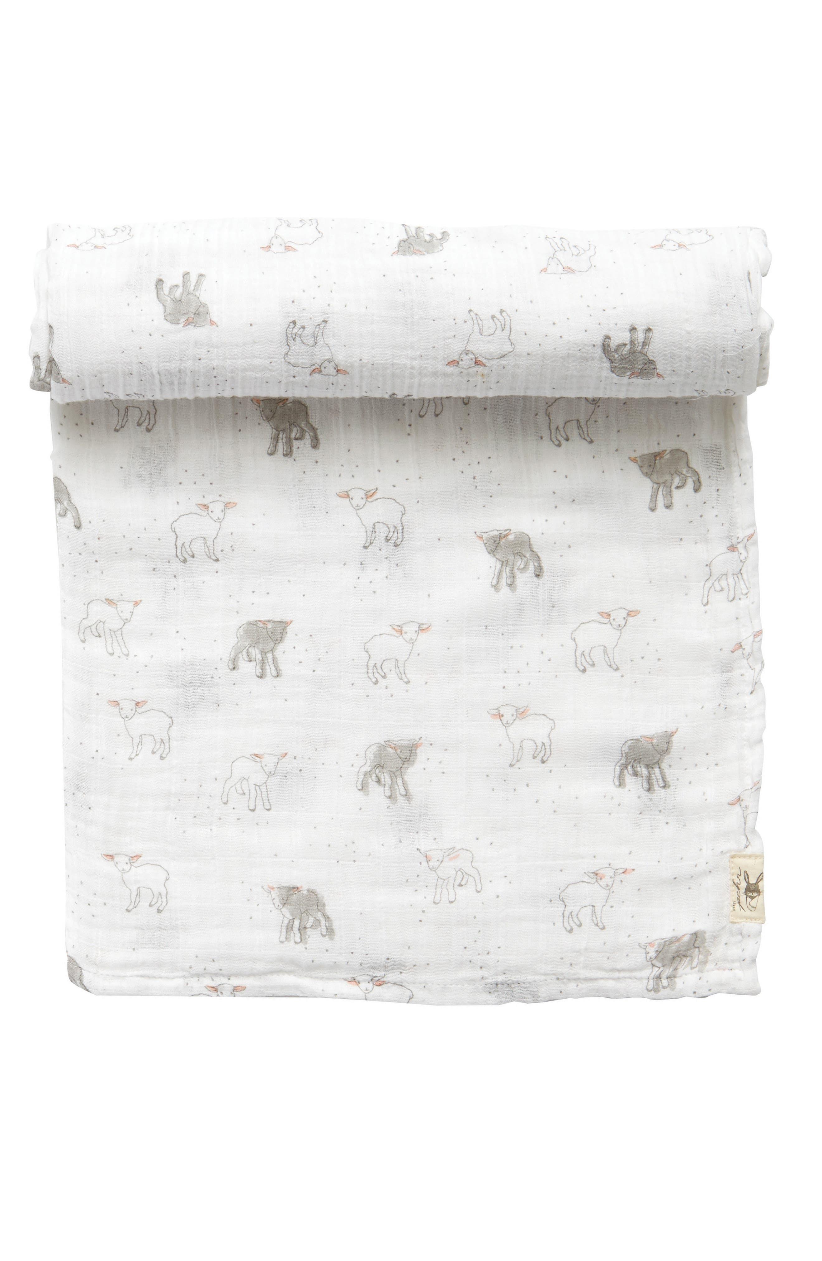Little Lamb Swaddle Blanket,                         Main,                         color, White