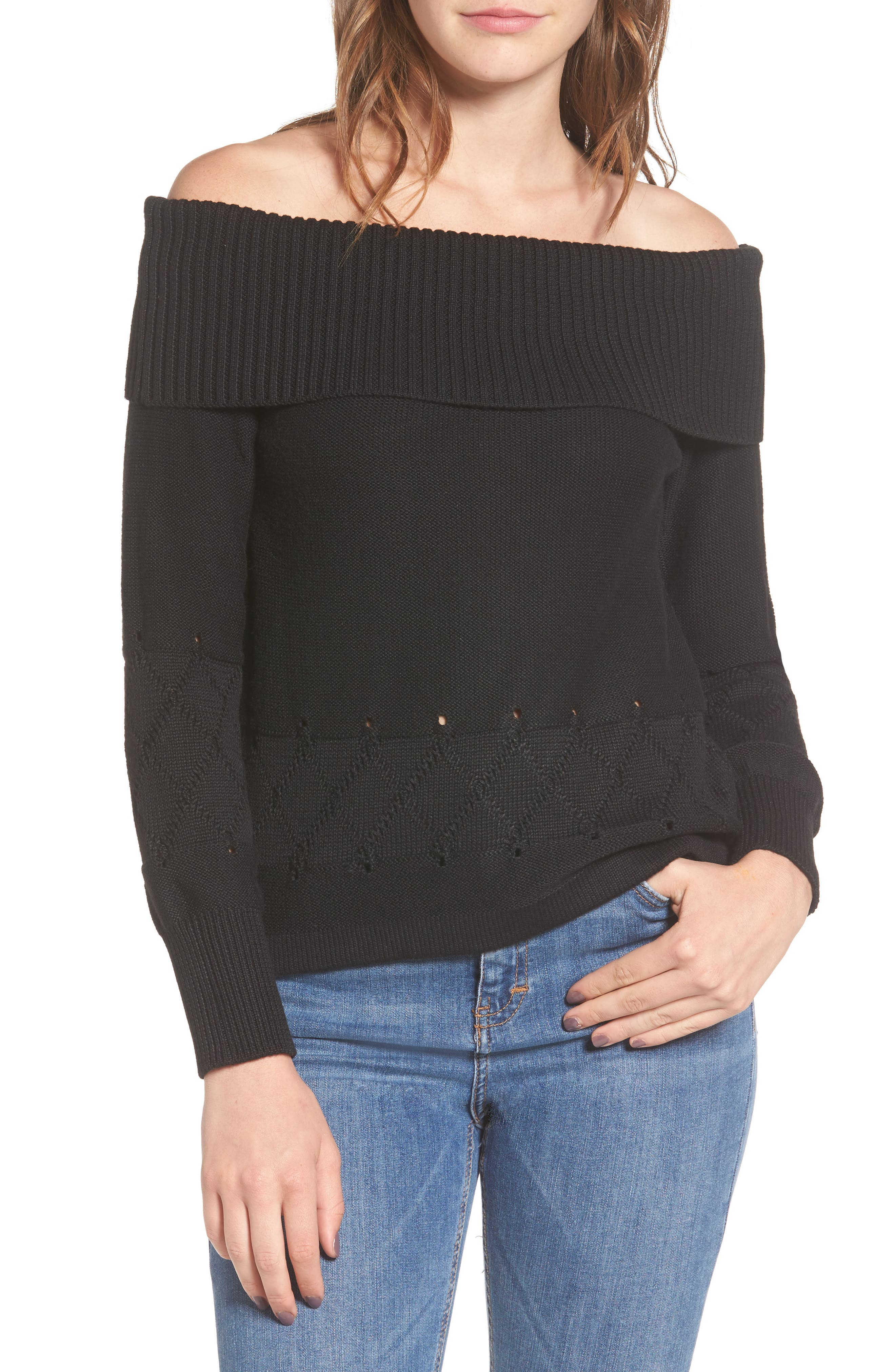 Terri Off the Shoulder Sweater,                             Main thumbnail 1, color,                             Black