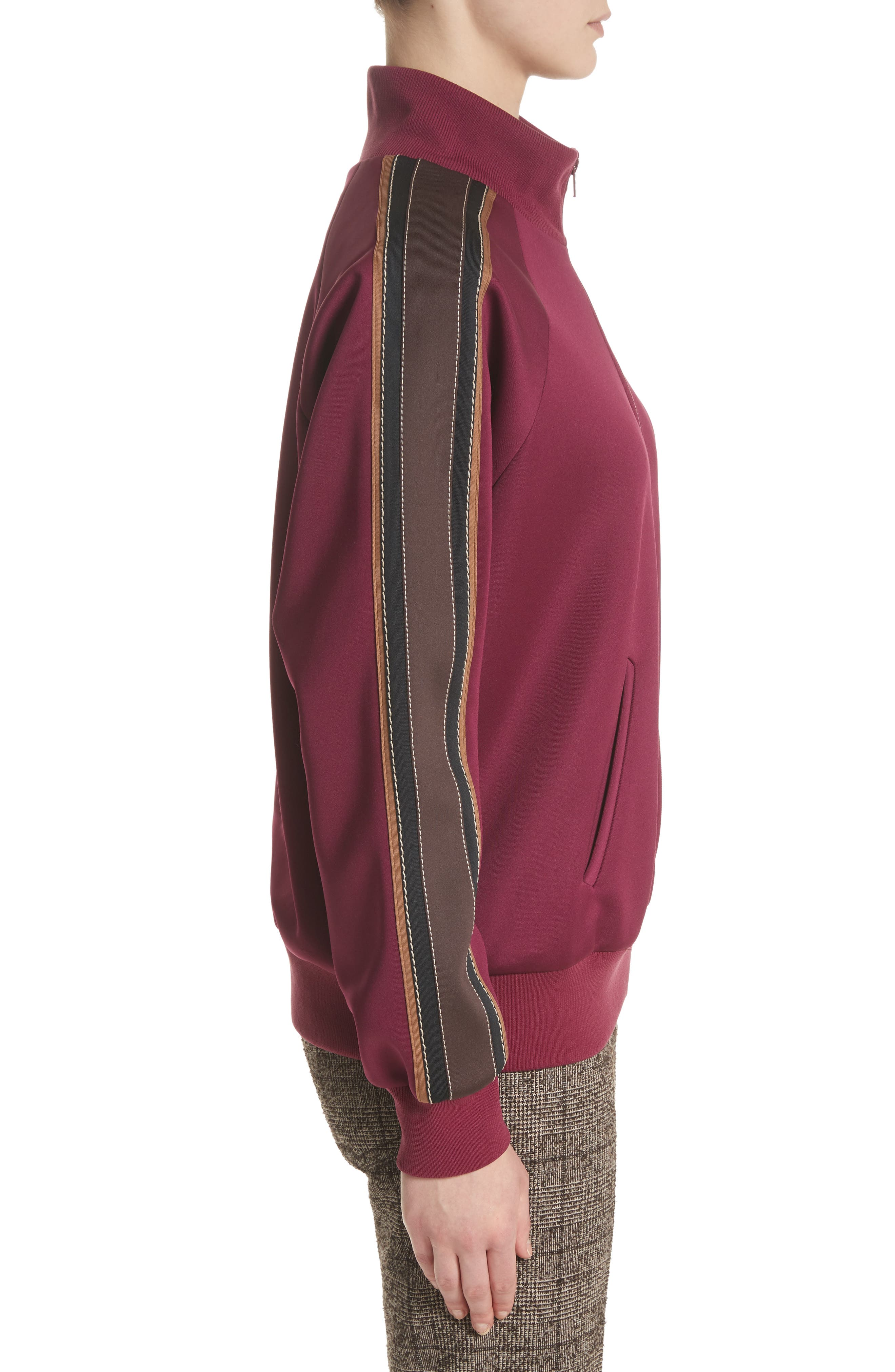 Zip Jersey Track Jacket,                             Alternate thumbnail 4, color,                             Burgundy Multi