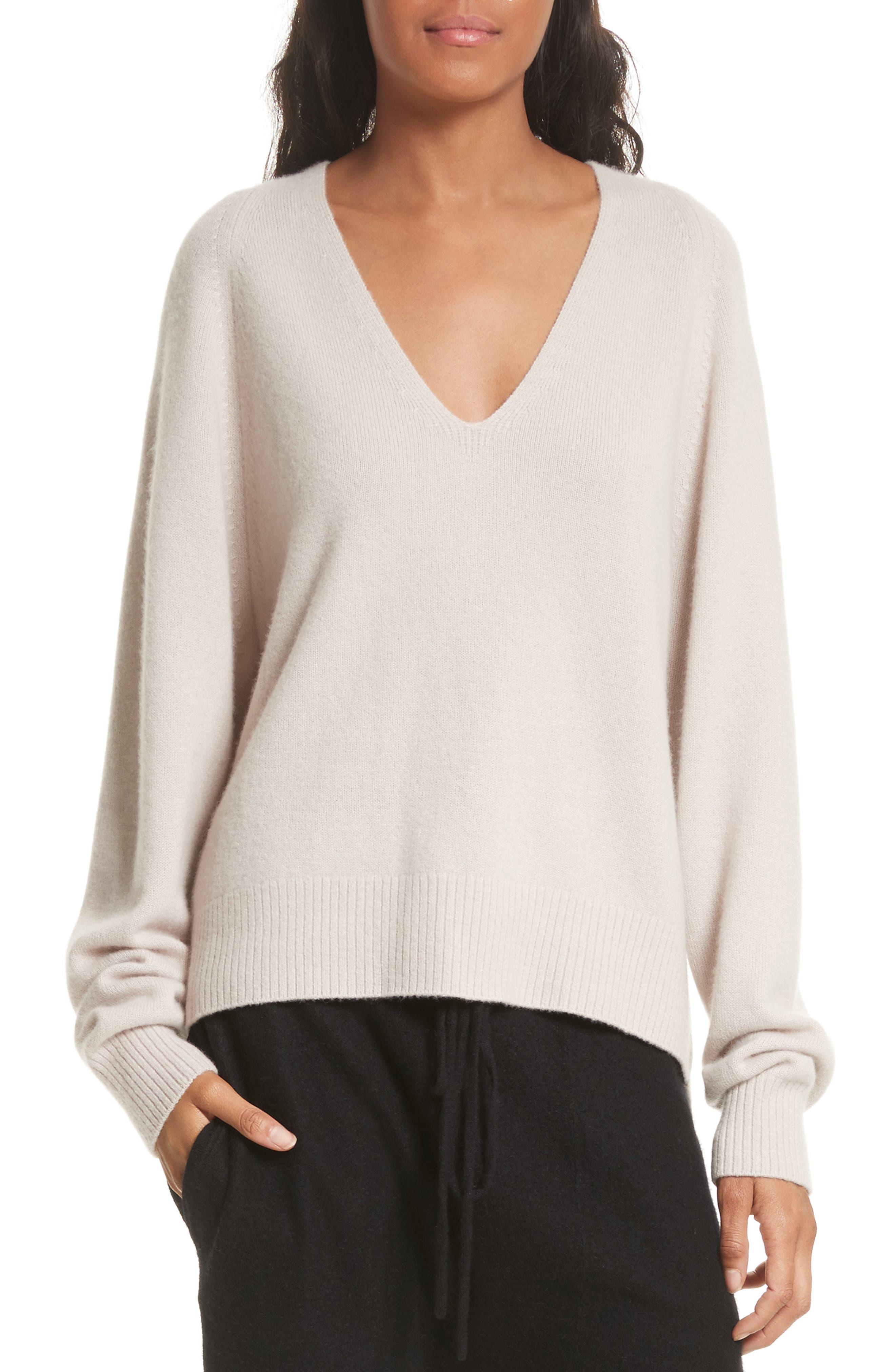 Deep V-Neck Cashmere Sweater,                             Main thumbnail 1, color,                             Linen