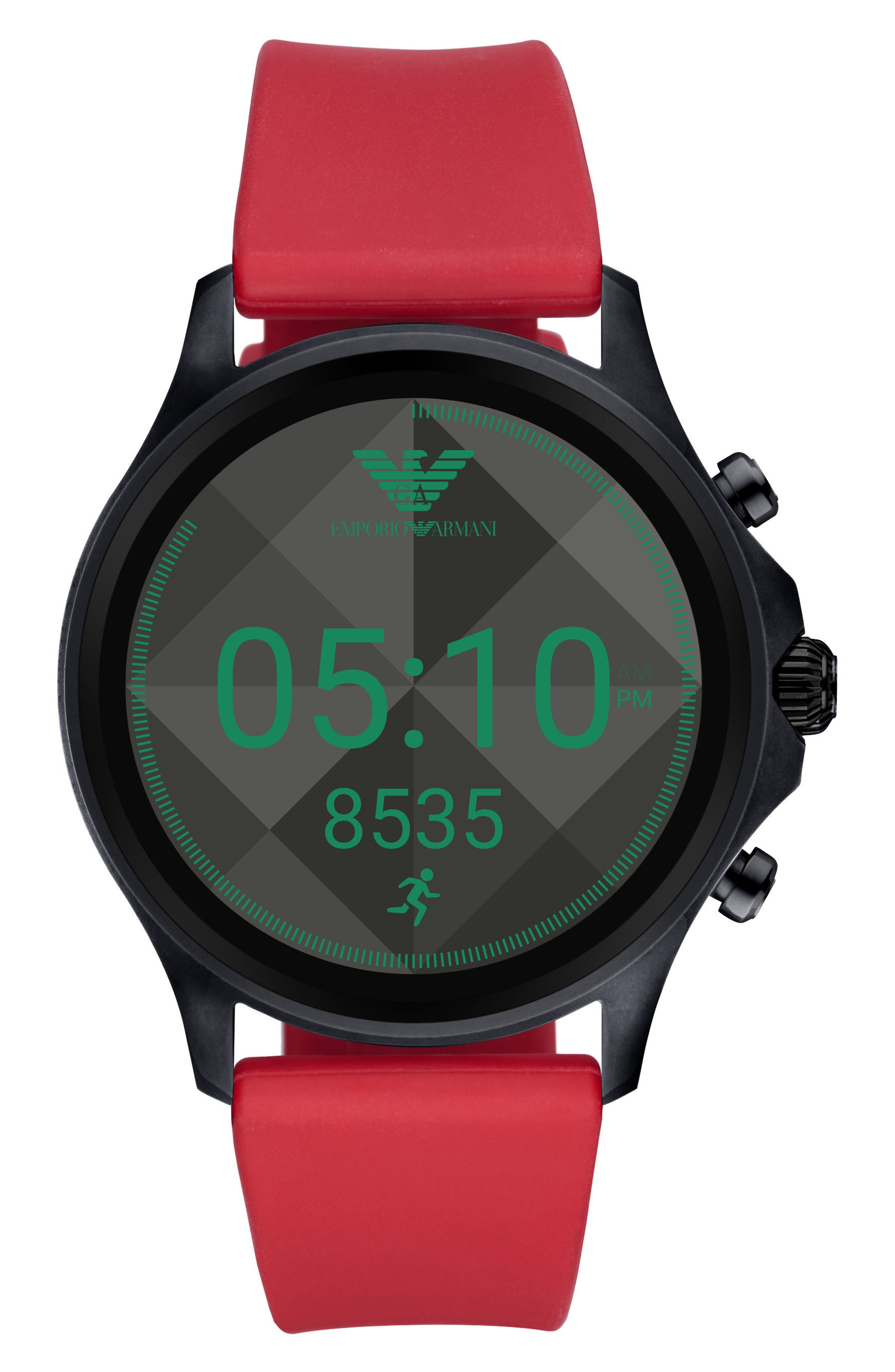 22mm Silicone Watch Strap,                             Alternate thumbnail 2, color,                             Red