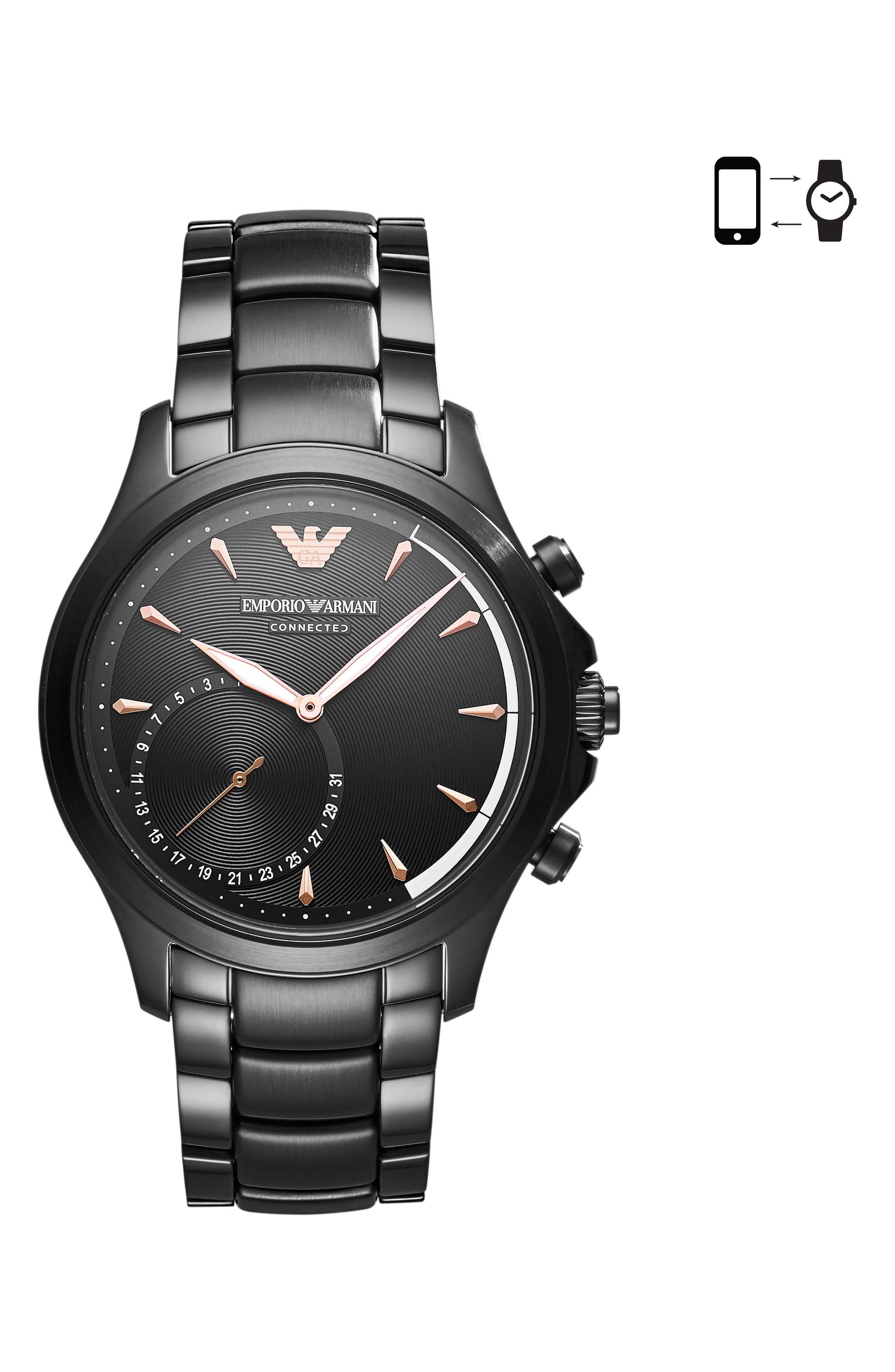 Main Image - Emporio Armani Bracelet Hybrid Smartwatch, 43mm