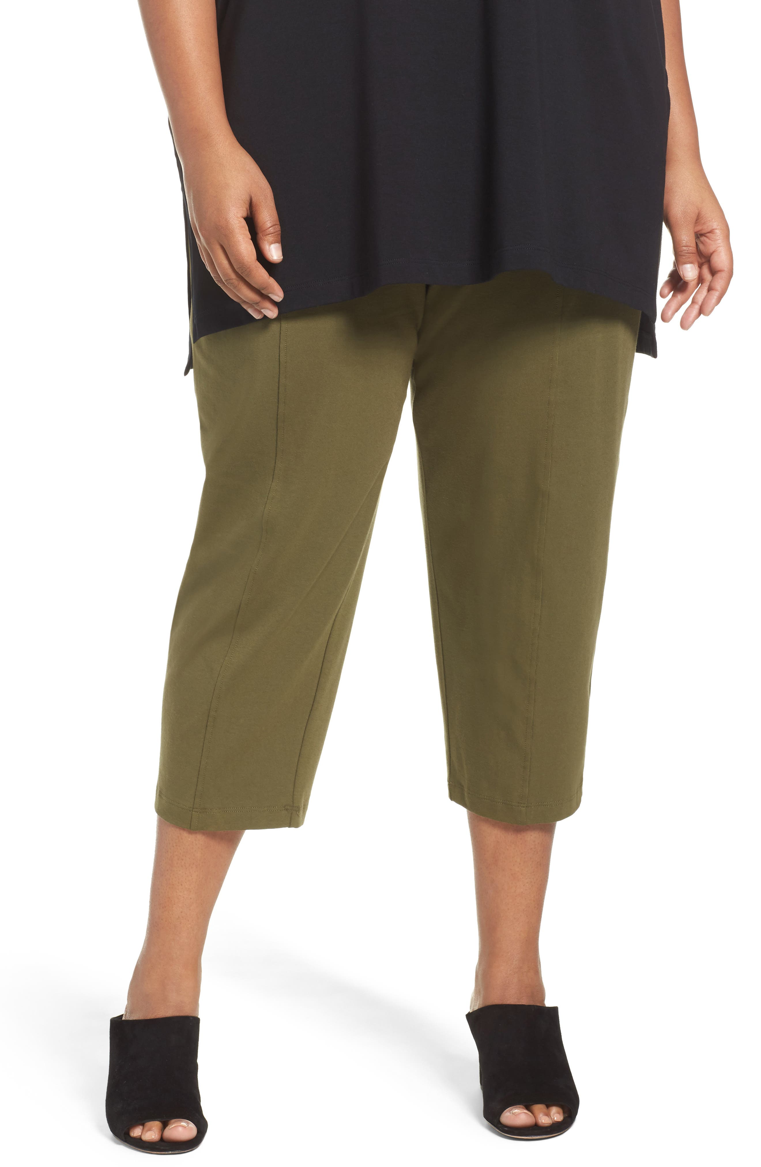 Alternate Image 1 Selected - Eileen Fisher Stretch Organic Cotton Crop Pants (Plus Size)