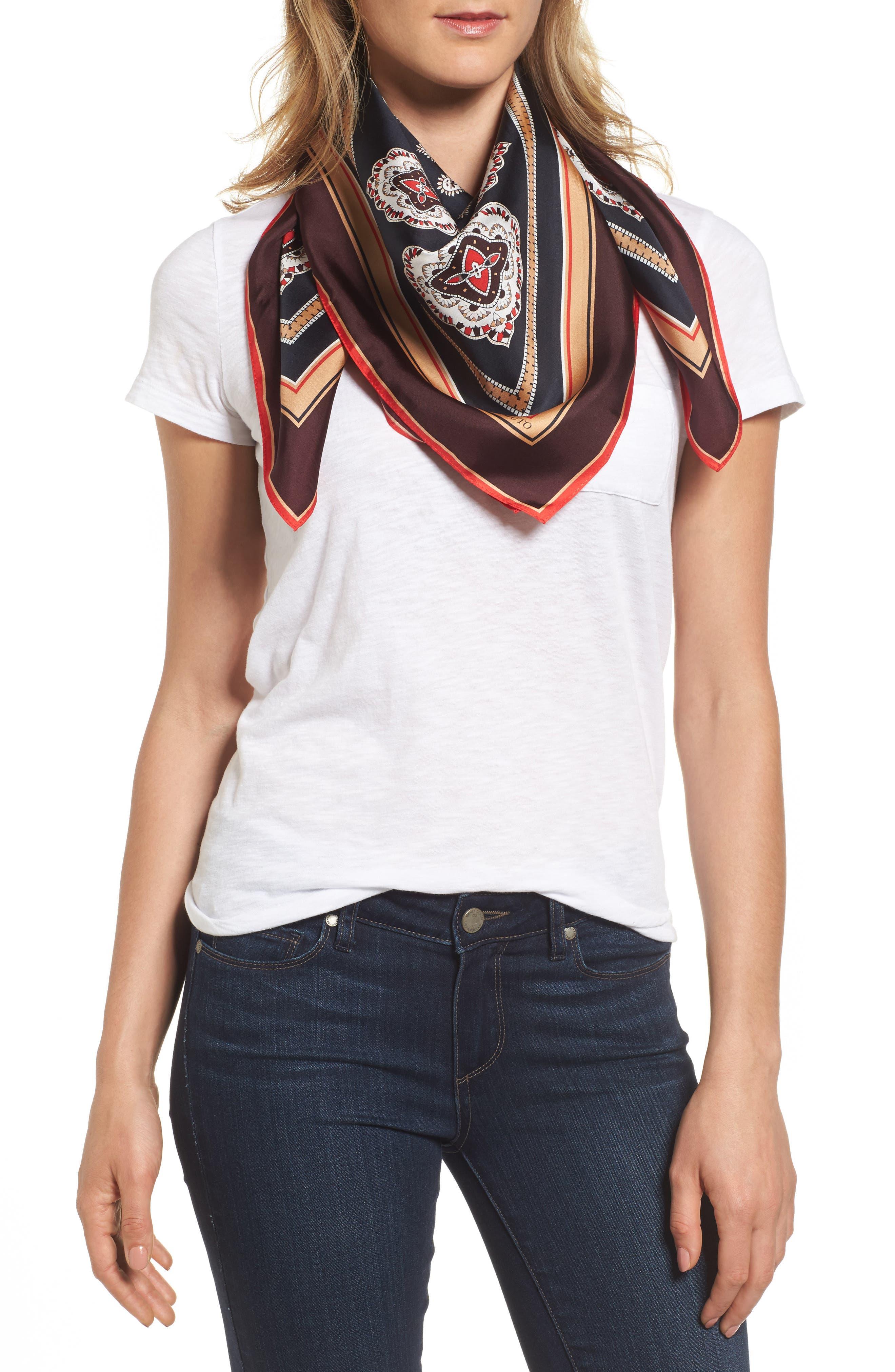 Vince Camuto Jewel Paisley Square Silk Scarf