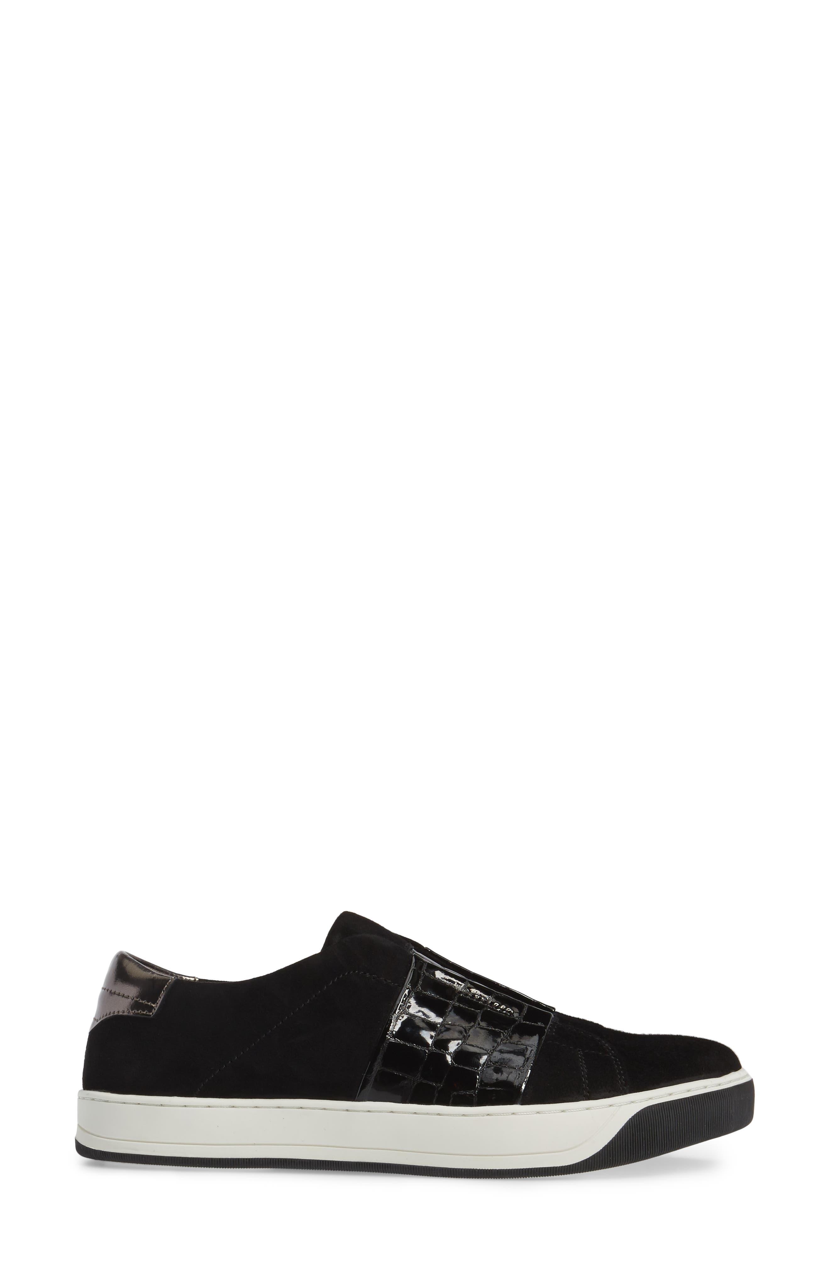 Eden Slip-On Sneaker,                             Alternate thumbnail 3, color,                             Black Suede