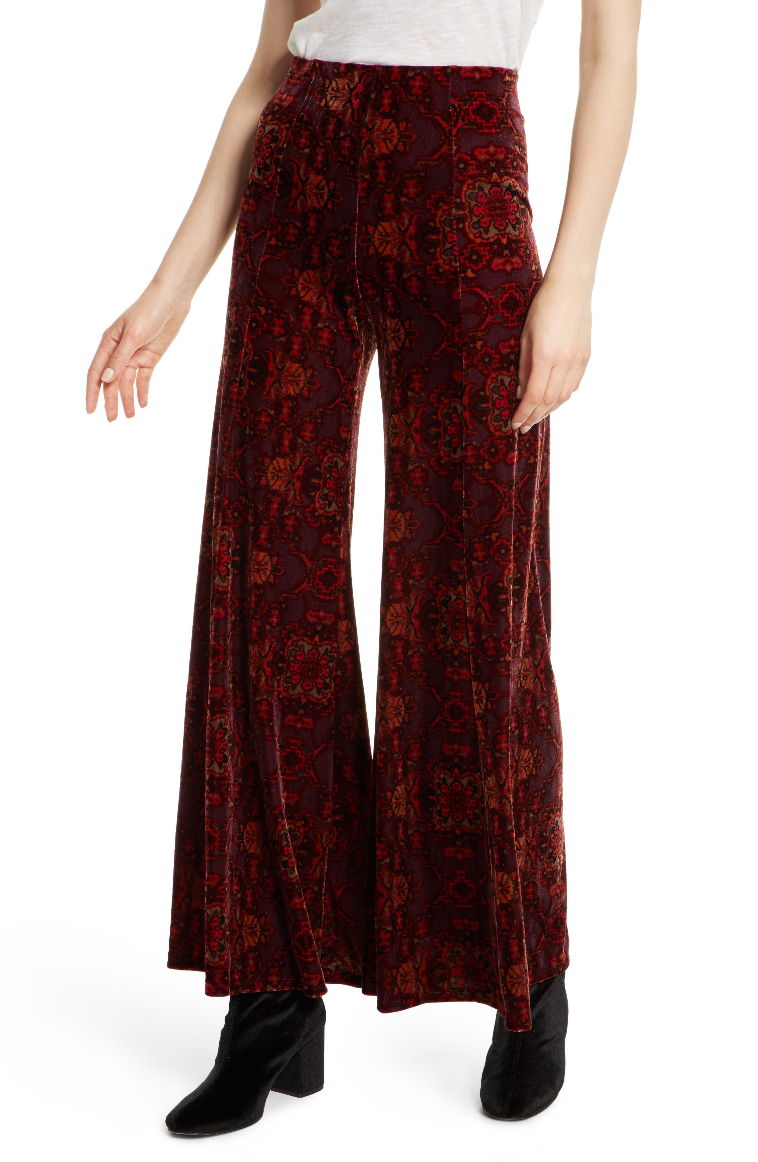 Lovin Feeling Velvet Wide Leg Pants,                         Main,                         color, Red