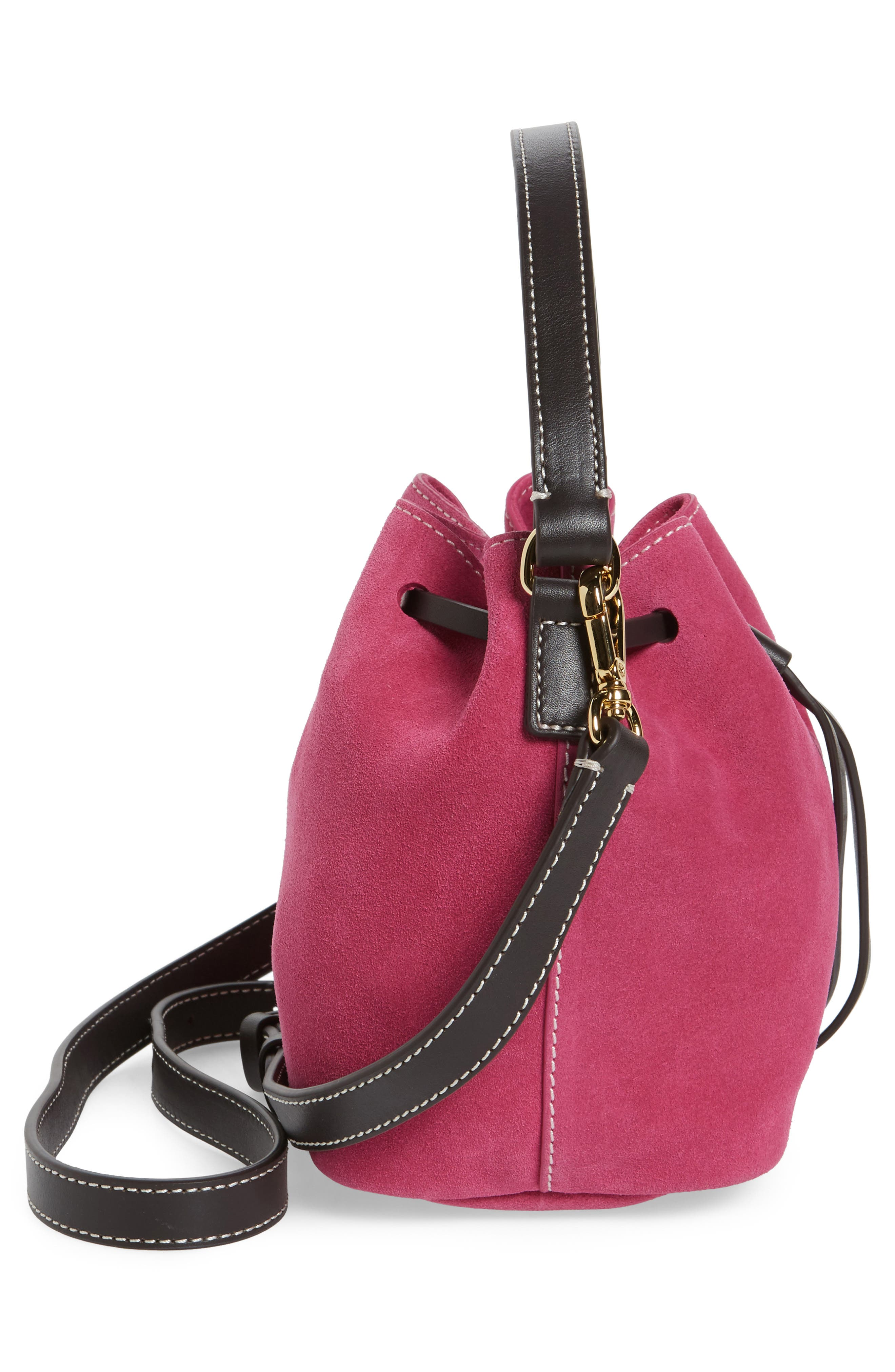 Ann Small Suede Bucket,                             Alternate thumbnail 5, color,                             Pink