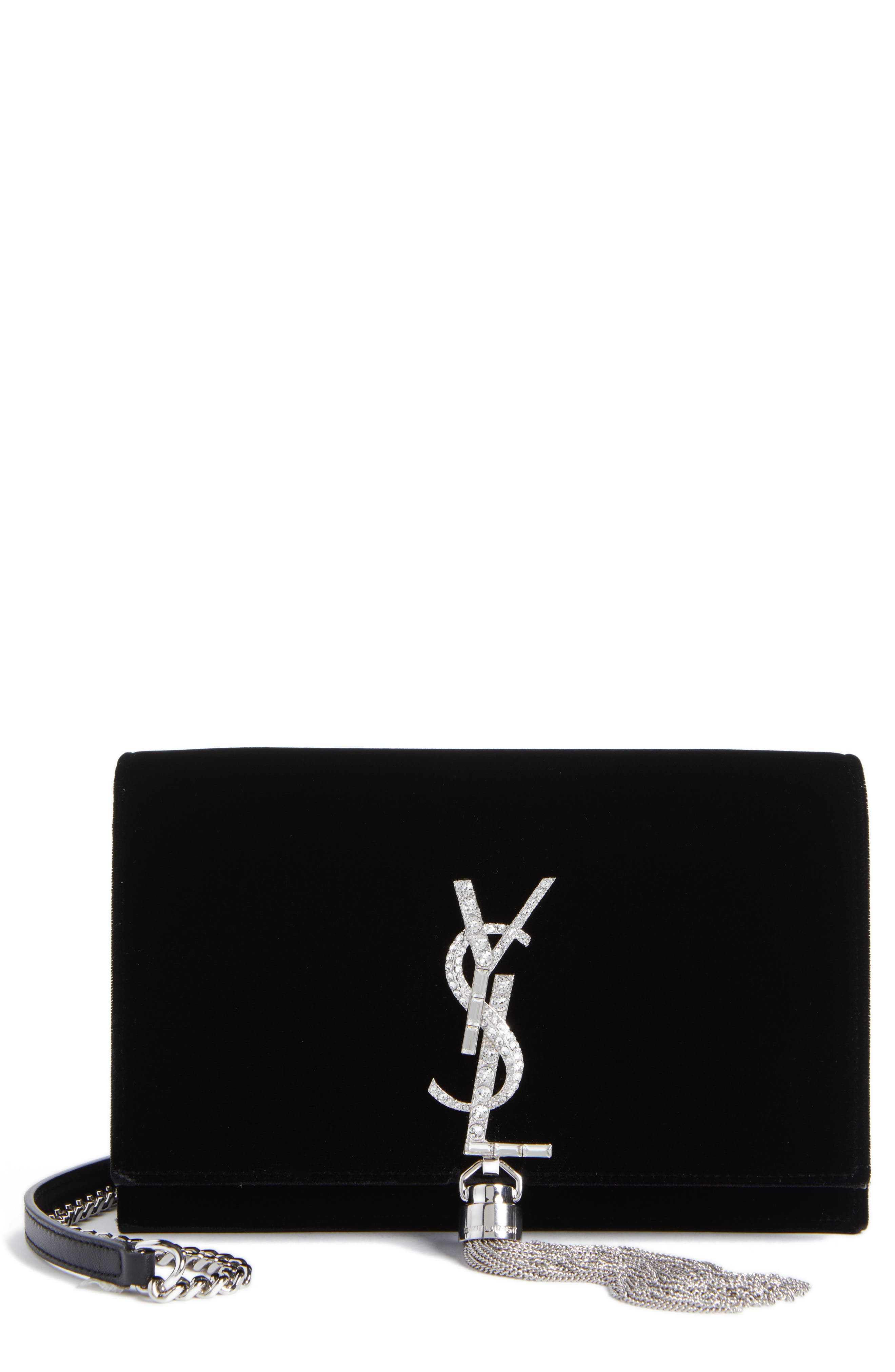 Main Image - Saint Laurent Small Kate Crystal Logo Wallet on a Chain
