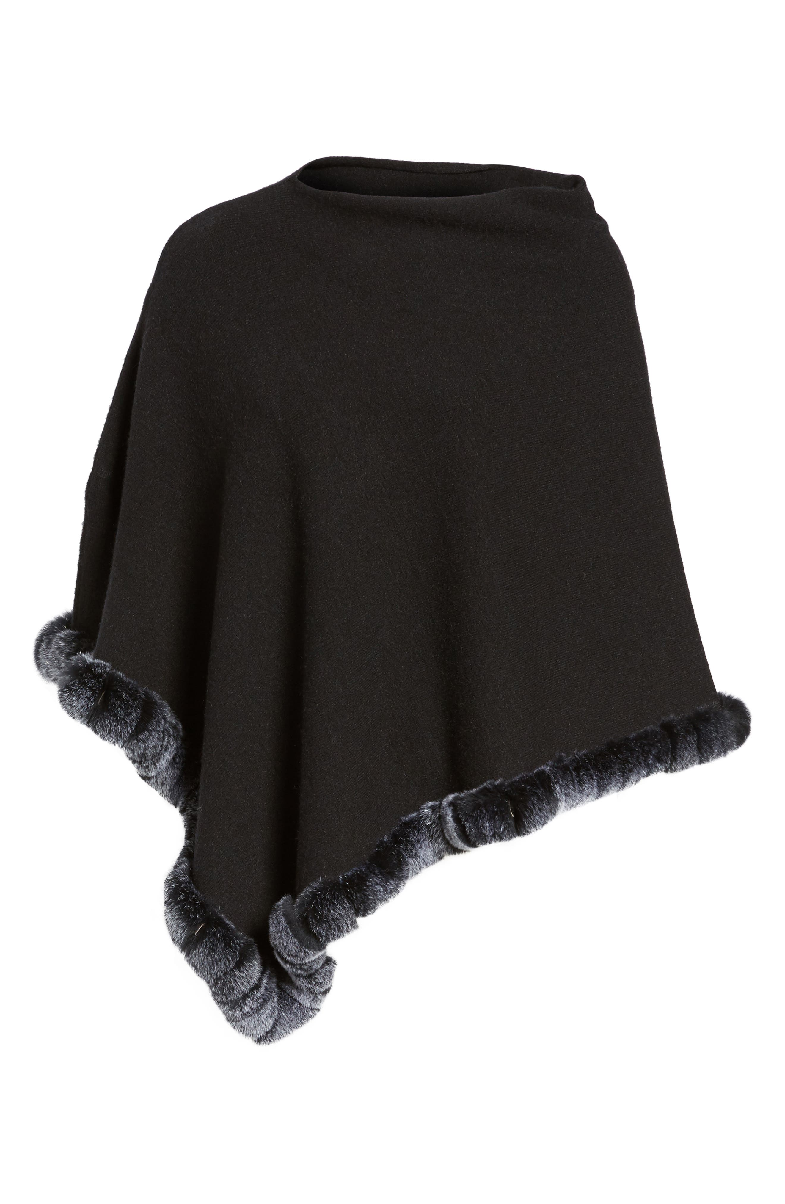 Angled Poncho with Genuine Rabbit Fur Trim,                             Alternate thumbnail 6, color,                             Black
