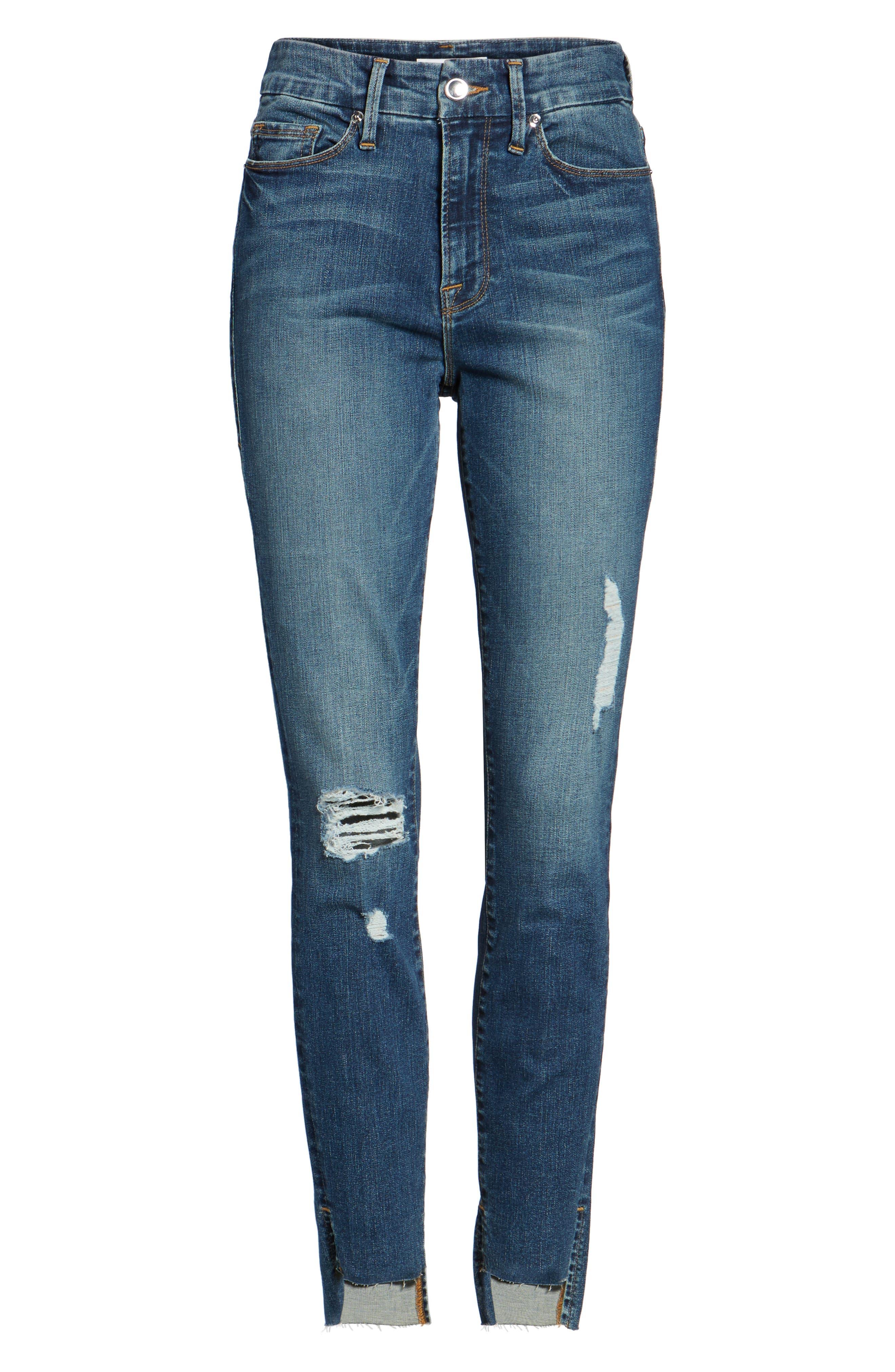 Good Waist Stagger Hem Jeans,                             Alternate thumbnail 6, color,                             Blue074