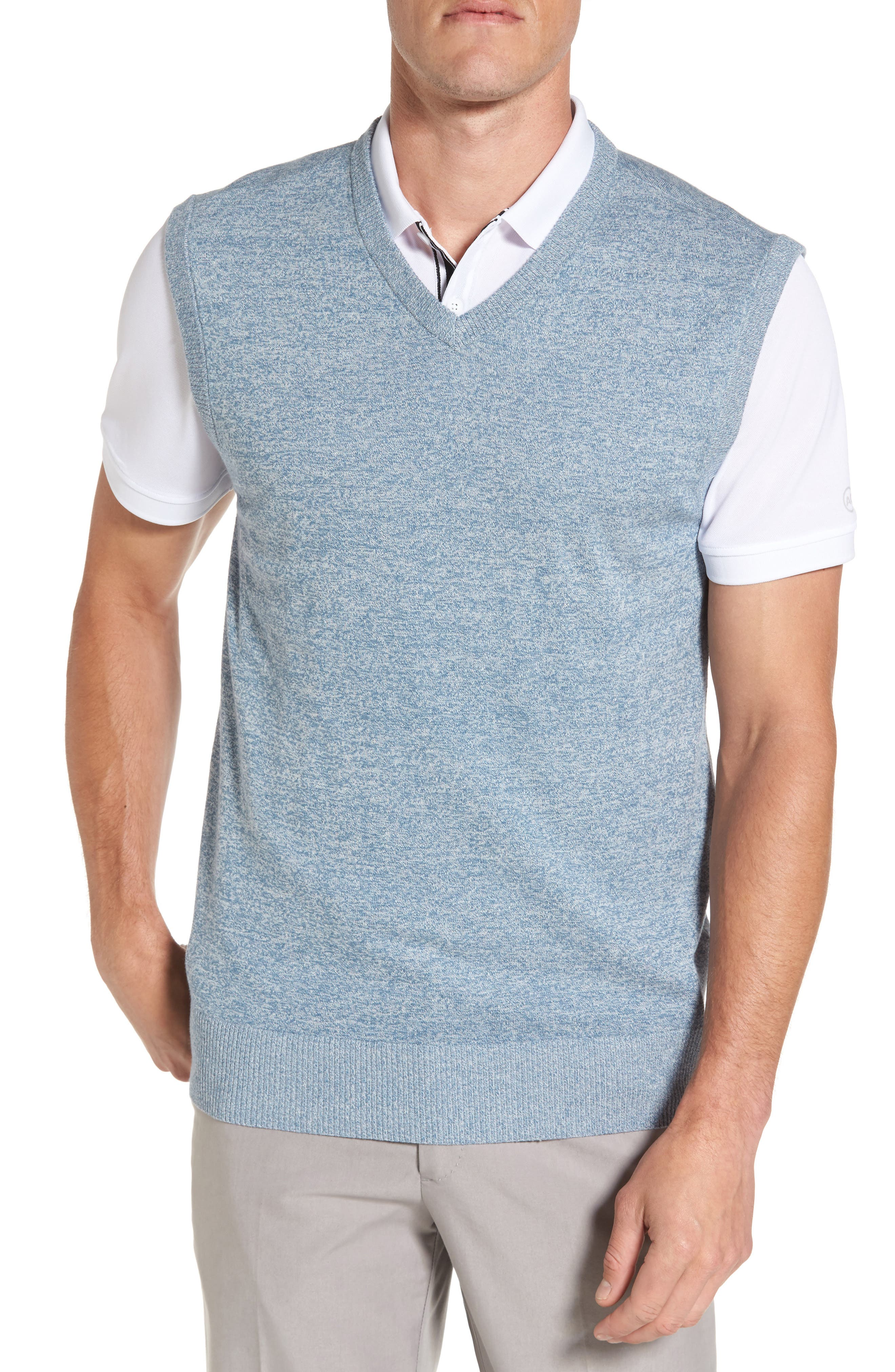 Valley V-Neck Sweater Vest,                             Main thumbnail 1, color,                             Blue Print/ White Melange