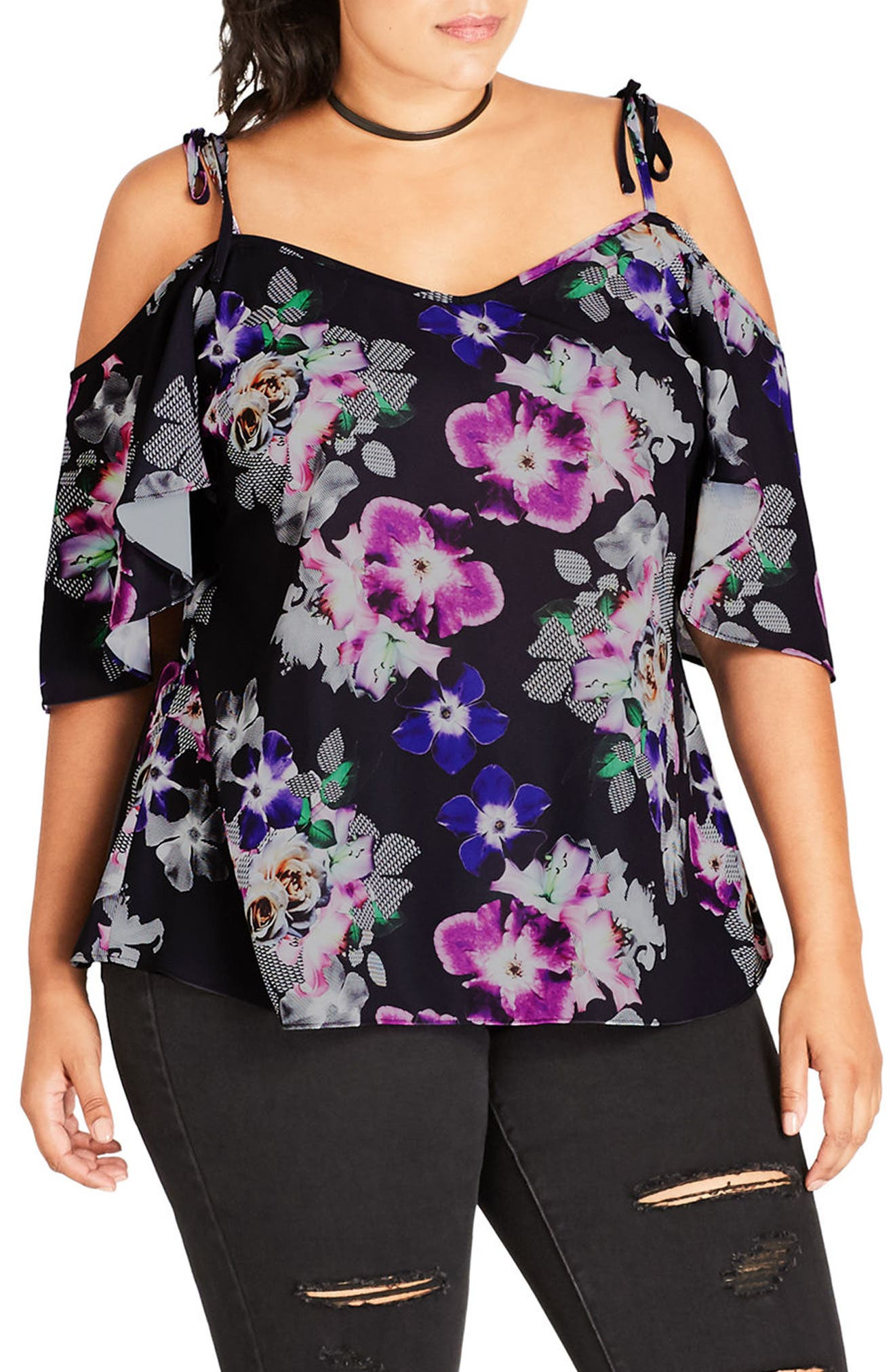 City Chic Sheer Paradise Off the Shoulder Top