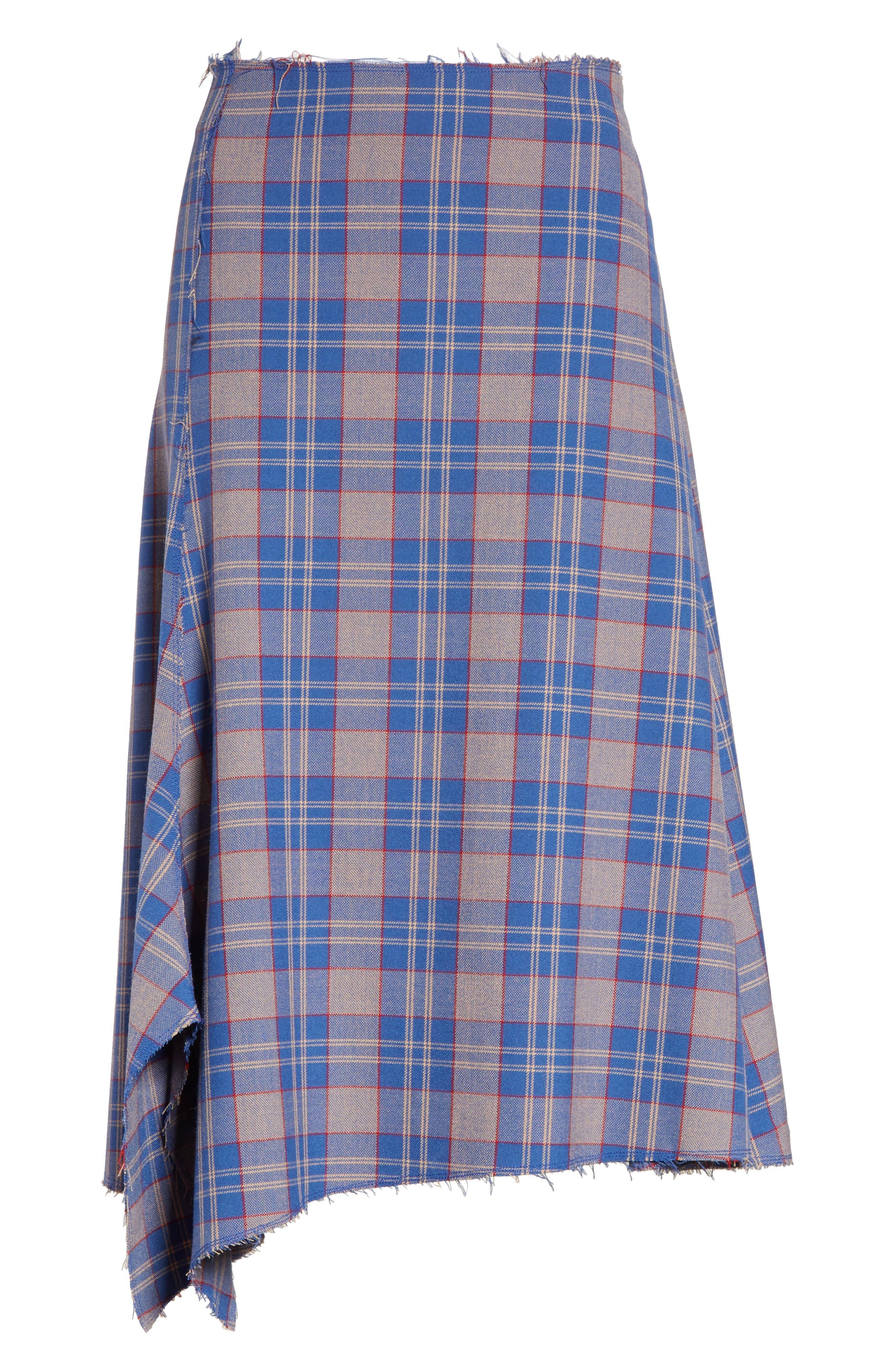Asymmetric Plaid Midi Skirt,                             Alternate thumbnail 6, color,                             Bijou Multi