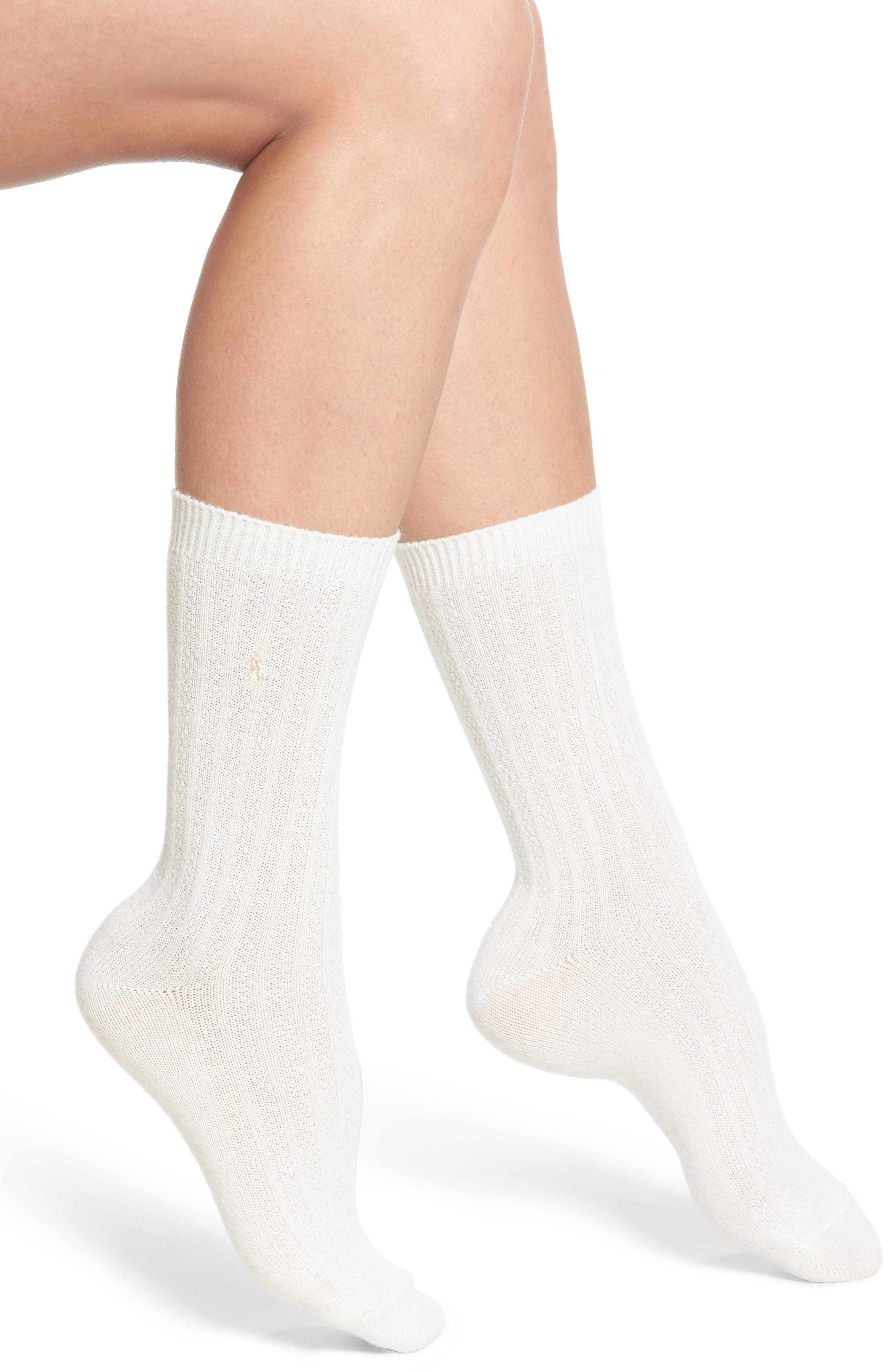 Main Image - Ralph Lauren Texture Rib Boot Socks (2 for $24)