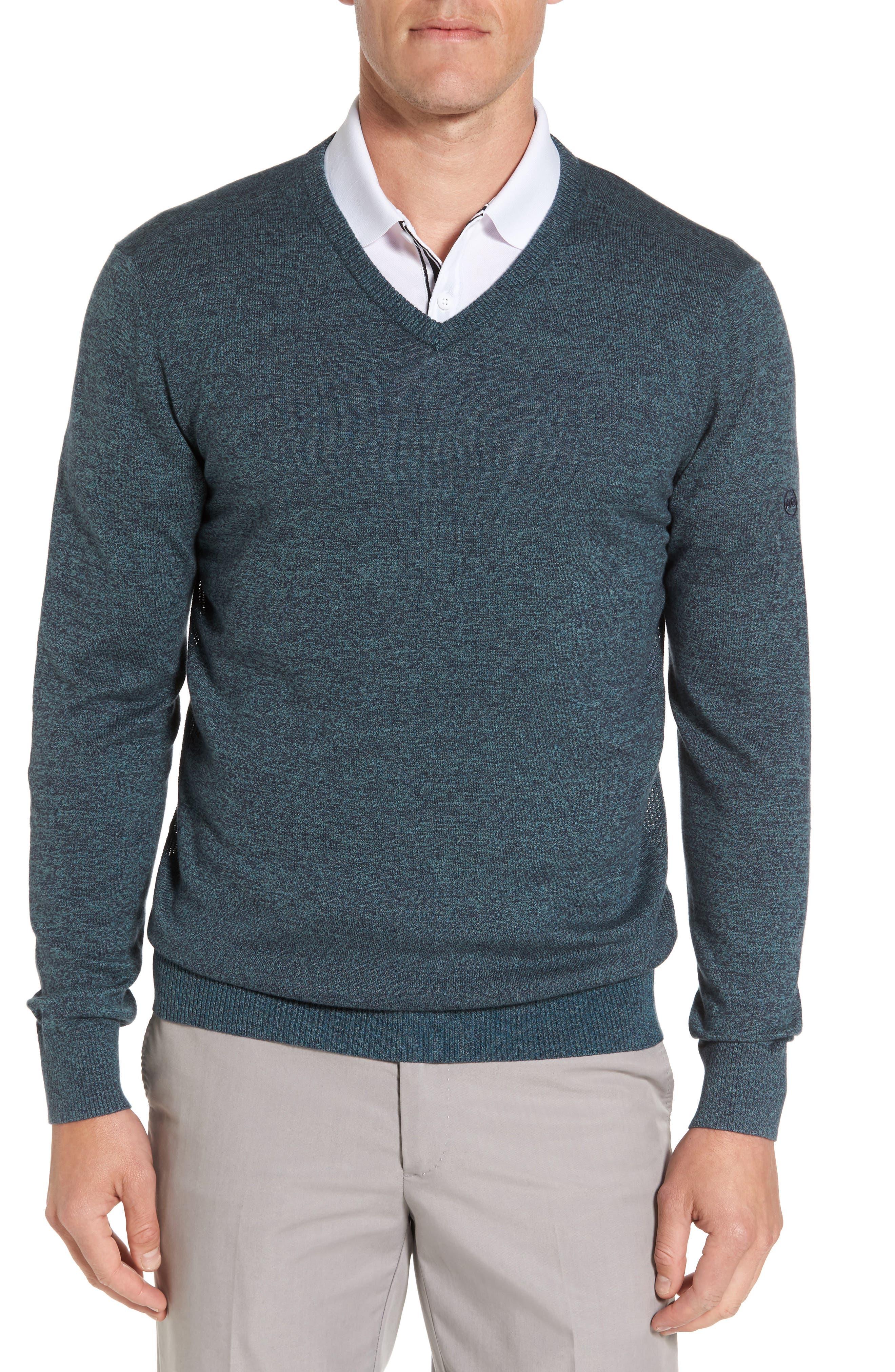 Ridgewood V-Neck Sweater,                             Main thumbnail 1, color,                             Turf/ Naval Blue Melange