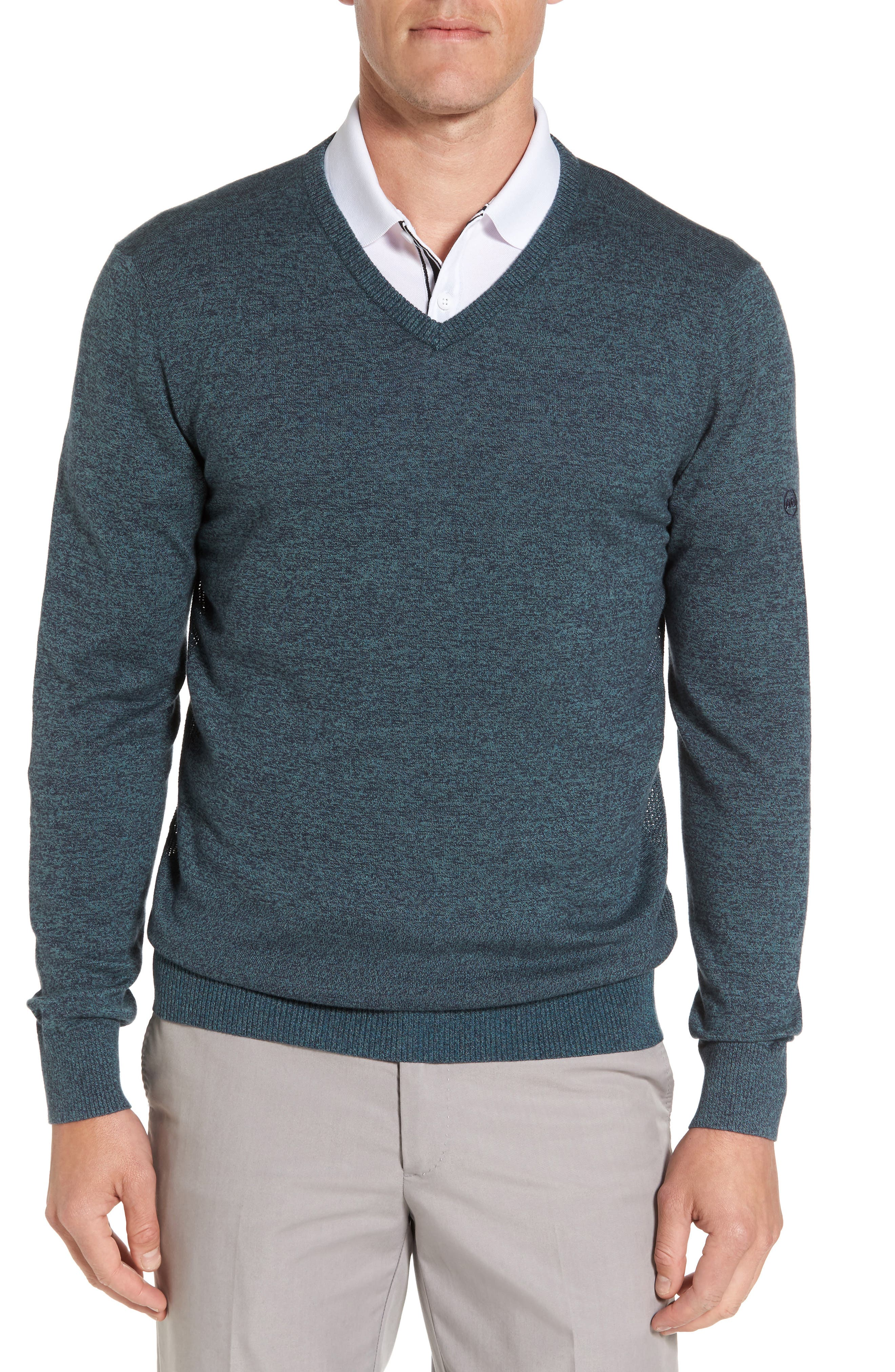 Ridgewood V-Neck Sweater,                         Main,                         color, Turf/ Naval Blue Melange