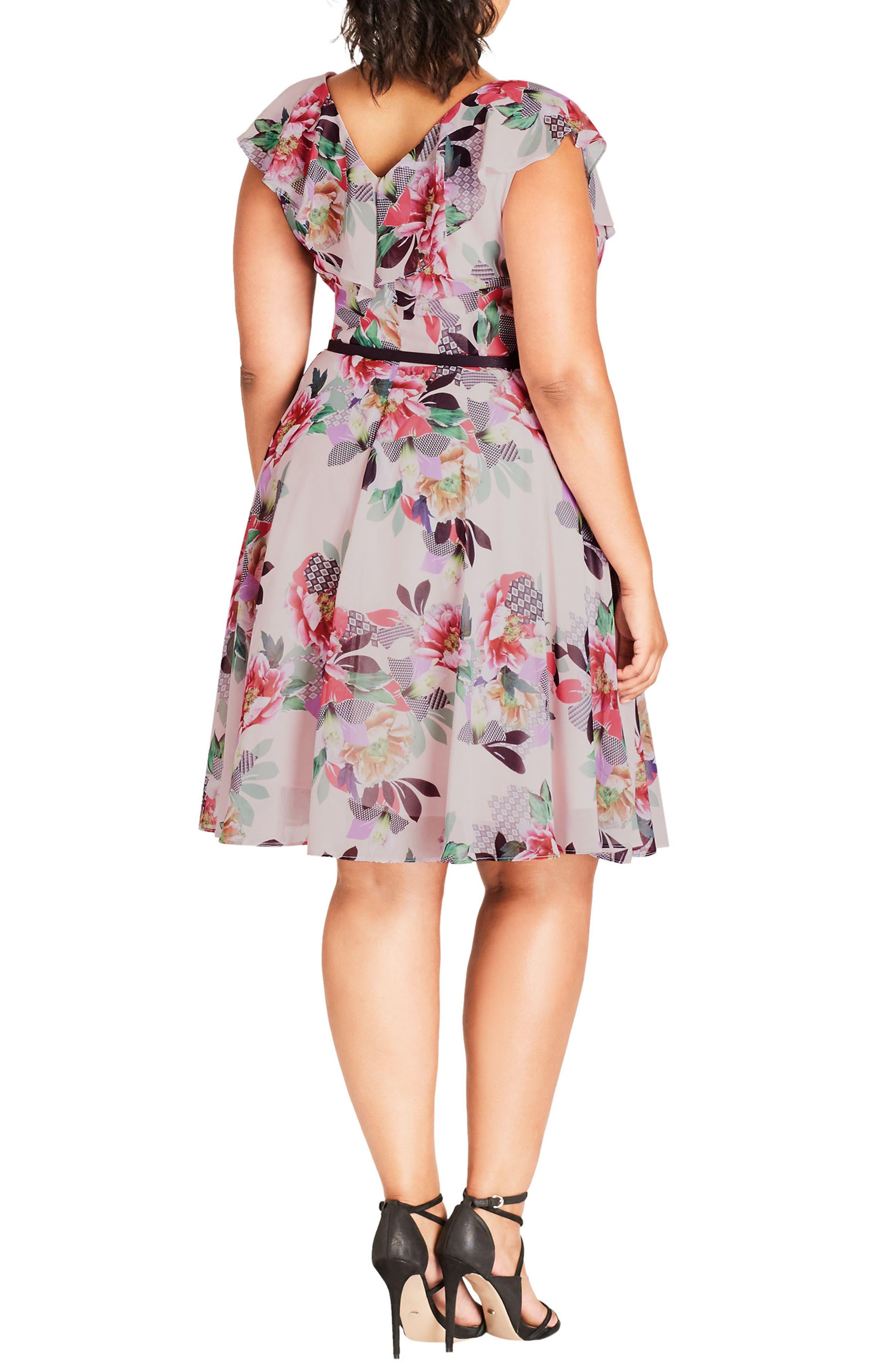 Romance Ruffle Floral Fit & Flare Dress,                             Alternate thumbnail 2, color,                             Lipstick Floral