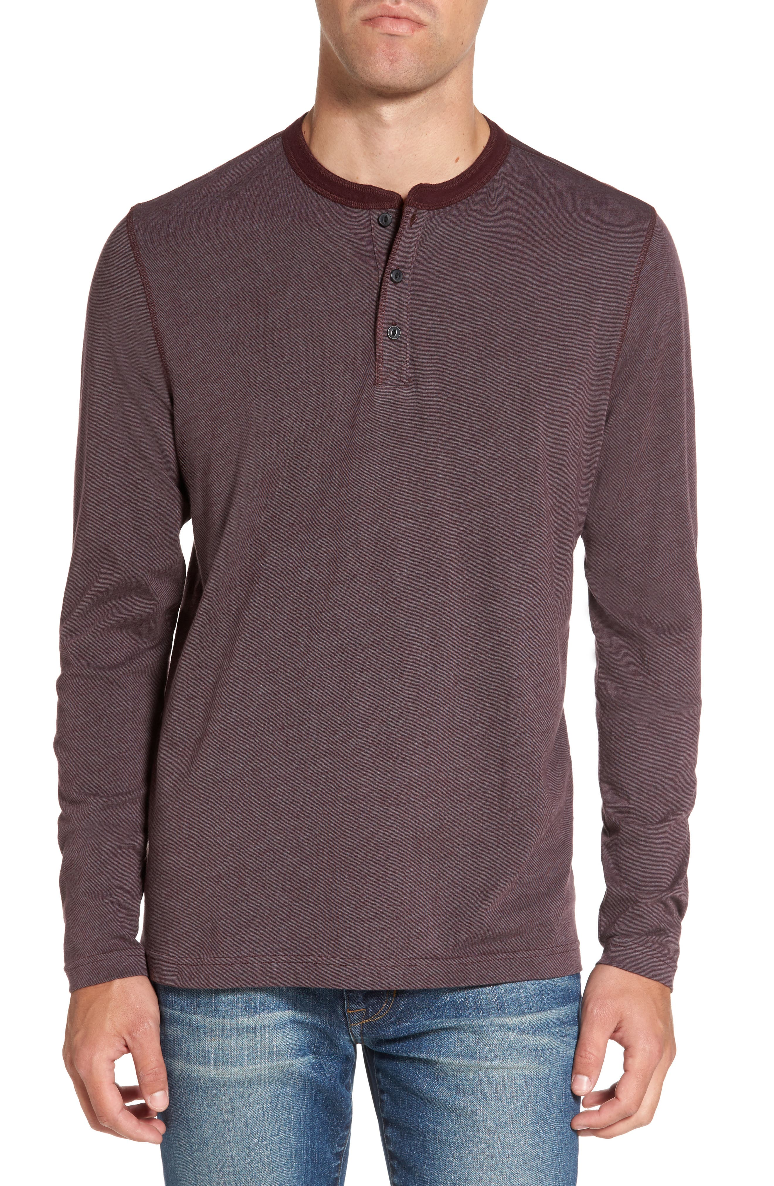 Stripe Henley,                         Main,                         color, Burgundy Stem Eoe