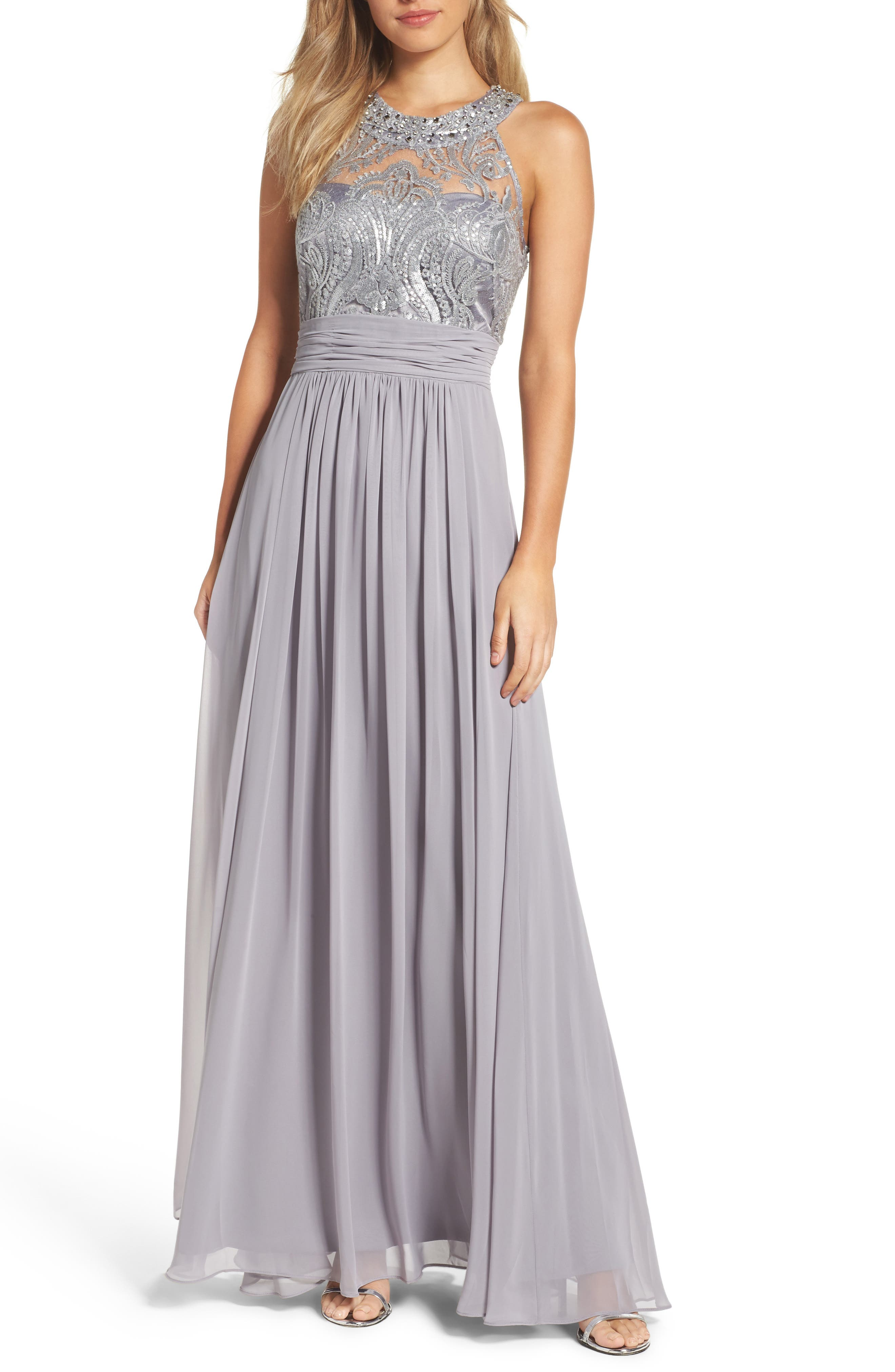 Lace Bodice Gown,                         Main,                         color, Silver