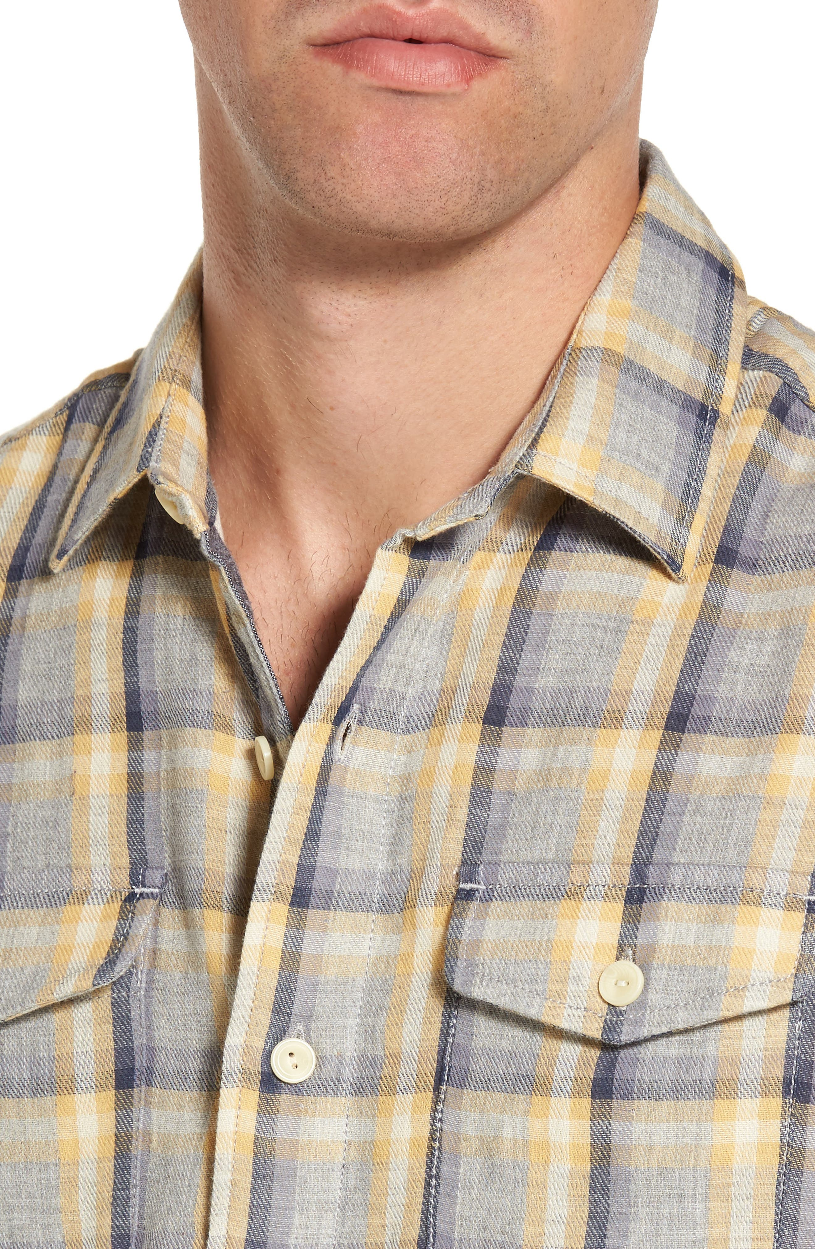 Sheldon Modern Fit Double Cloth Windowpane Sport Shirt,                             Alternate thumbnail 4, color,                             Yellow Stone Gray
