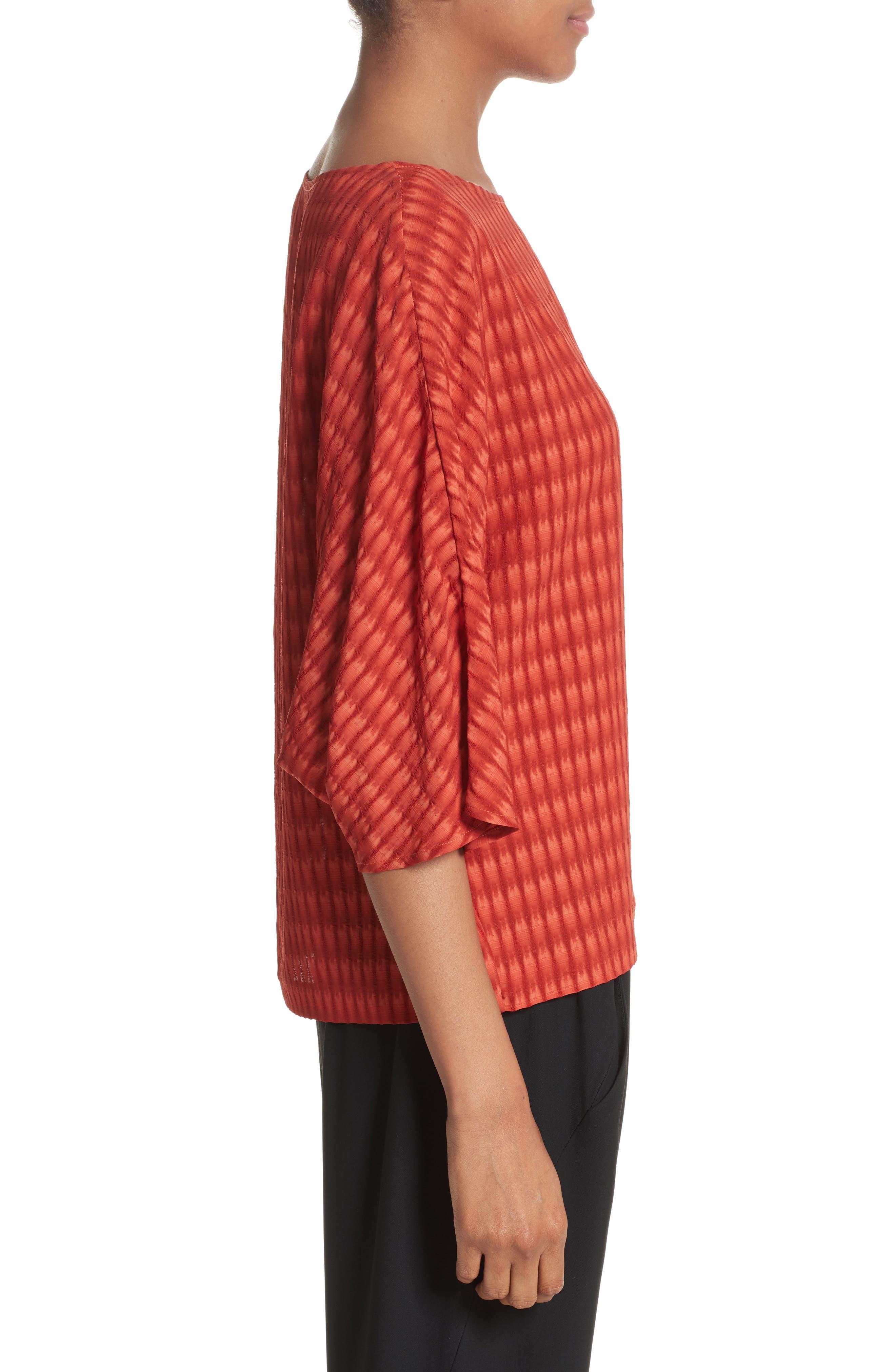 Vero Batik Plaid Top,                             Alternate thumbnail 6, color,                             Saffron Red