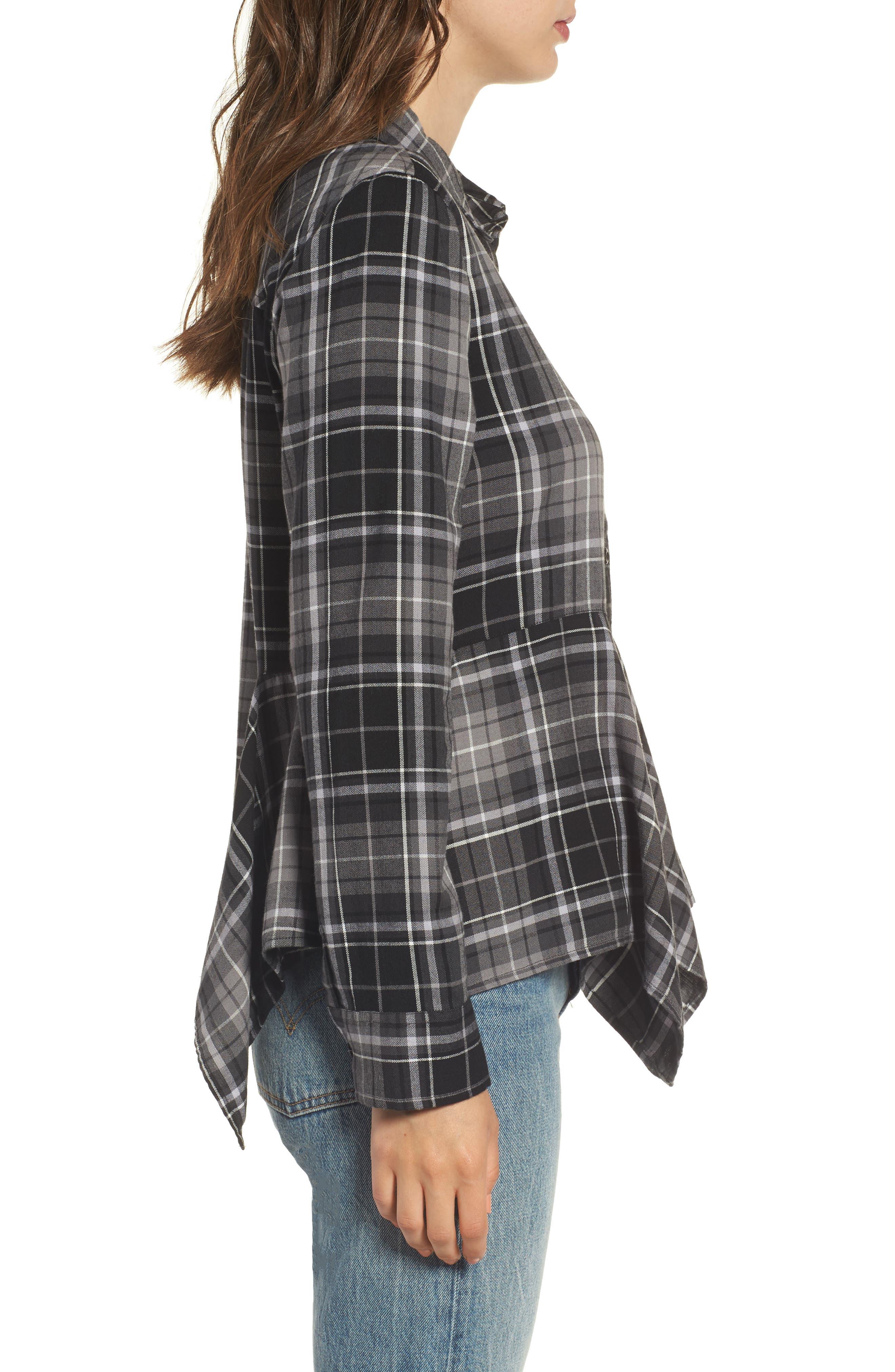Alternate Image 3  - BP. Plaid Godet Detail Shirt