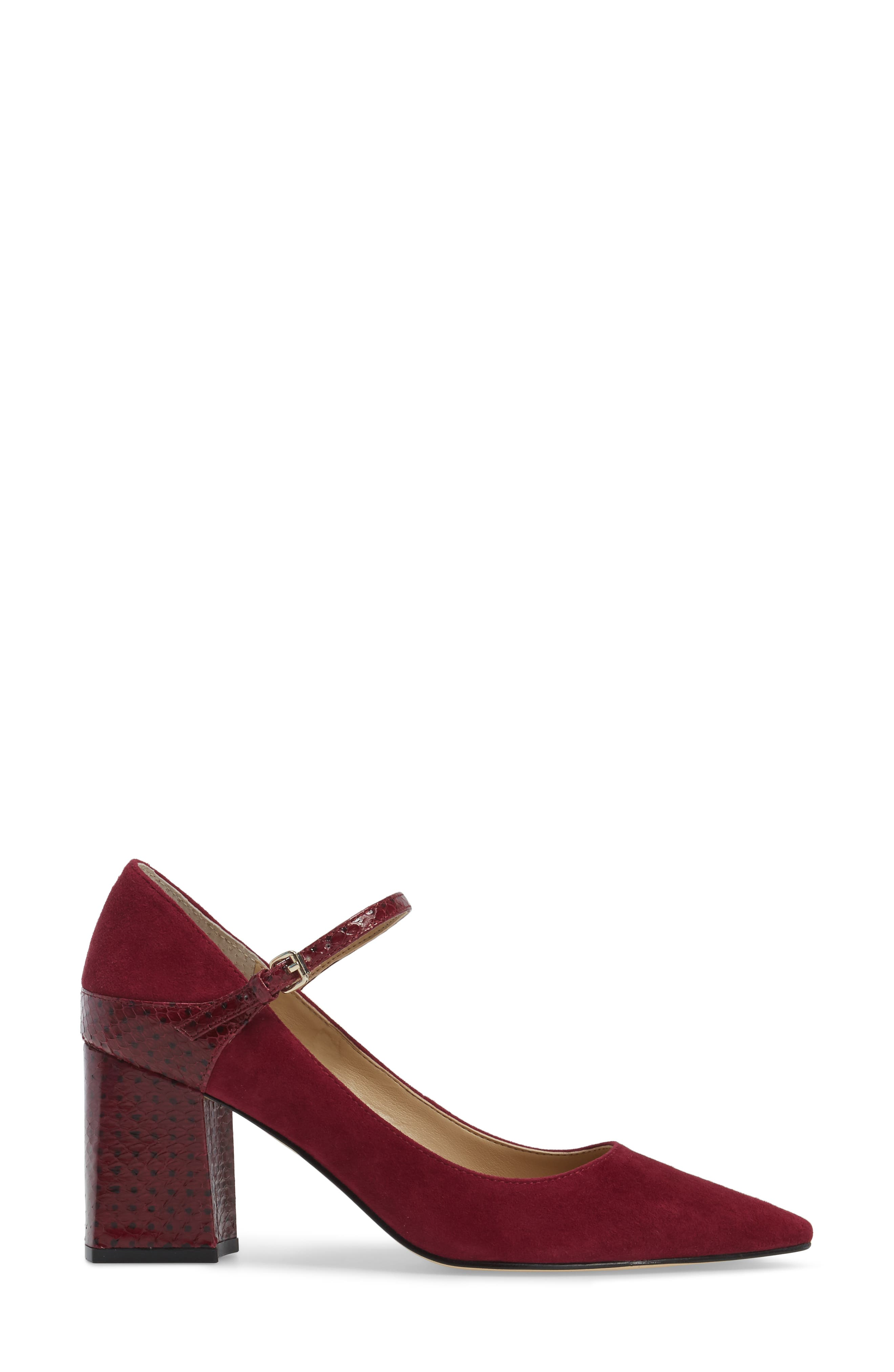 Zullys Snake Embossed Mary Jane Pump,                             Alternate thumbnail 3, color,                             Berry/ Berry Leather