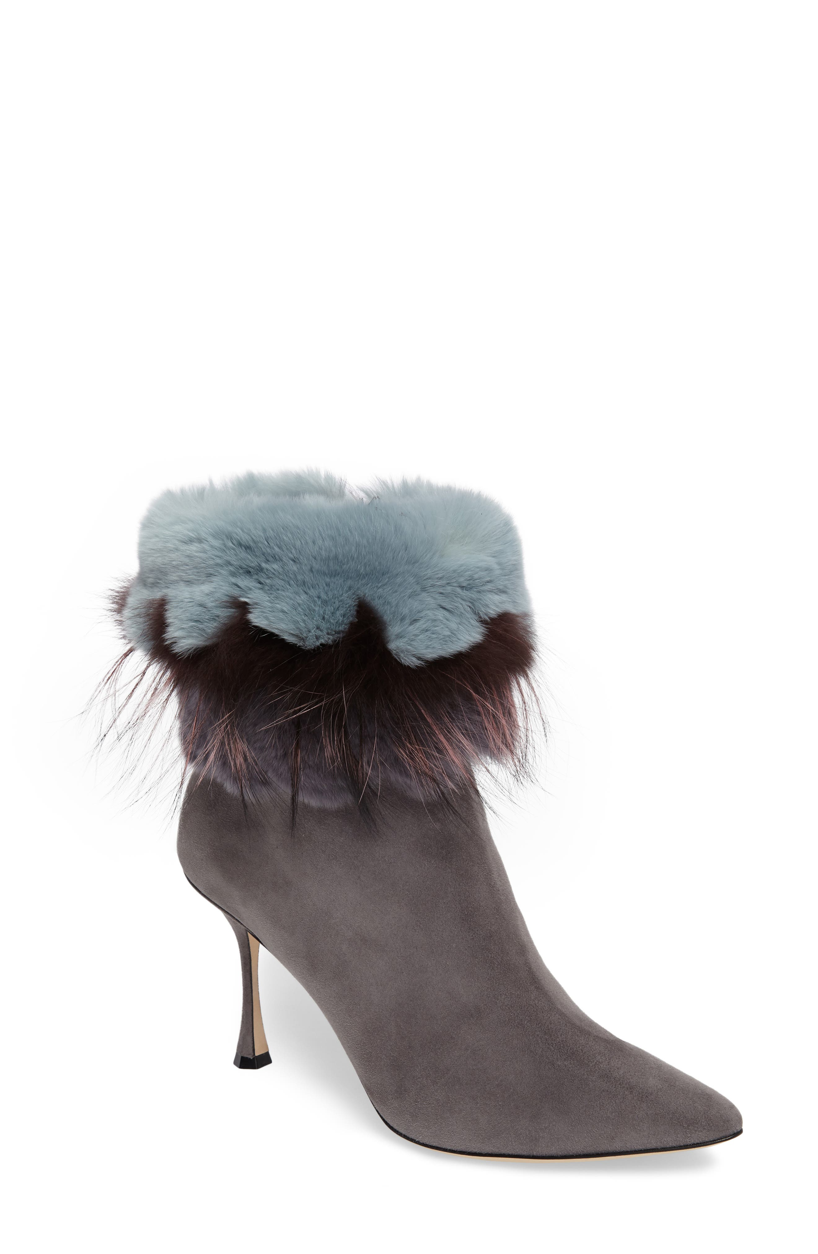 Manolo Blahnik Remola Genuine Rabbit & Fox Fur Bootie (Women)