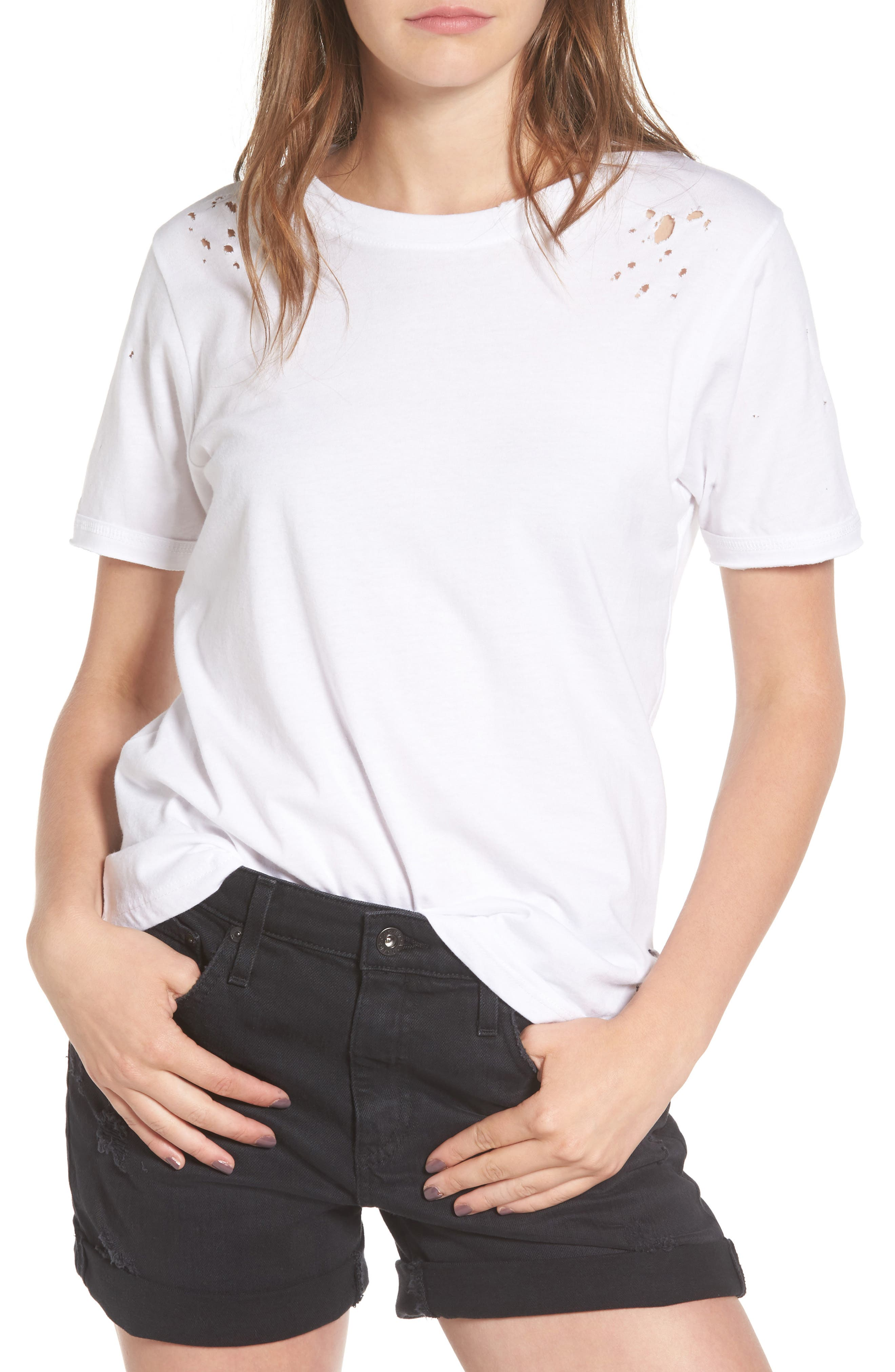 Distressed Tee,                         Main,                         color, White