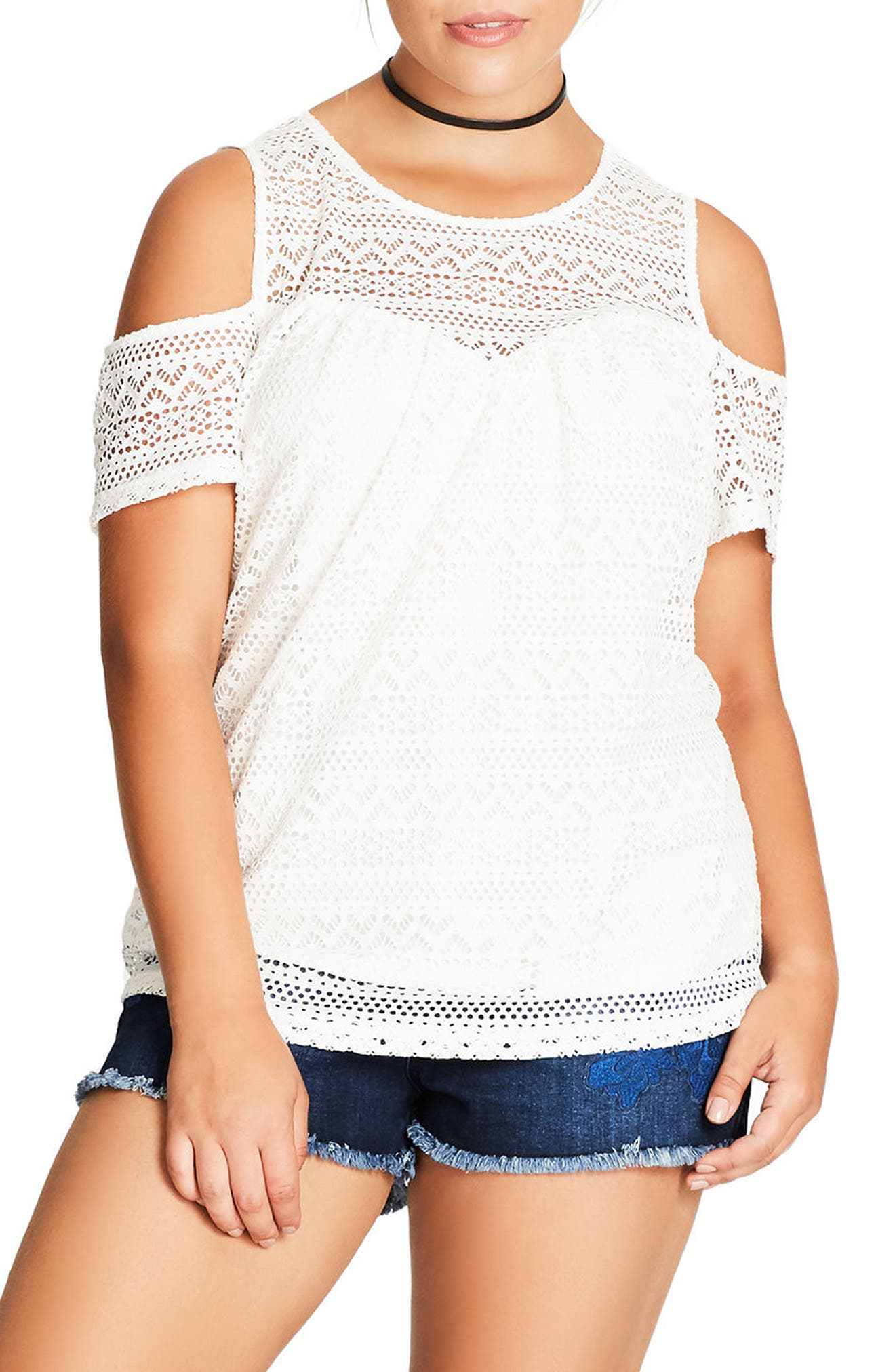 Main Image - City Chic Serenity Lace Cold Shoulder Top (Plus Size)