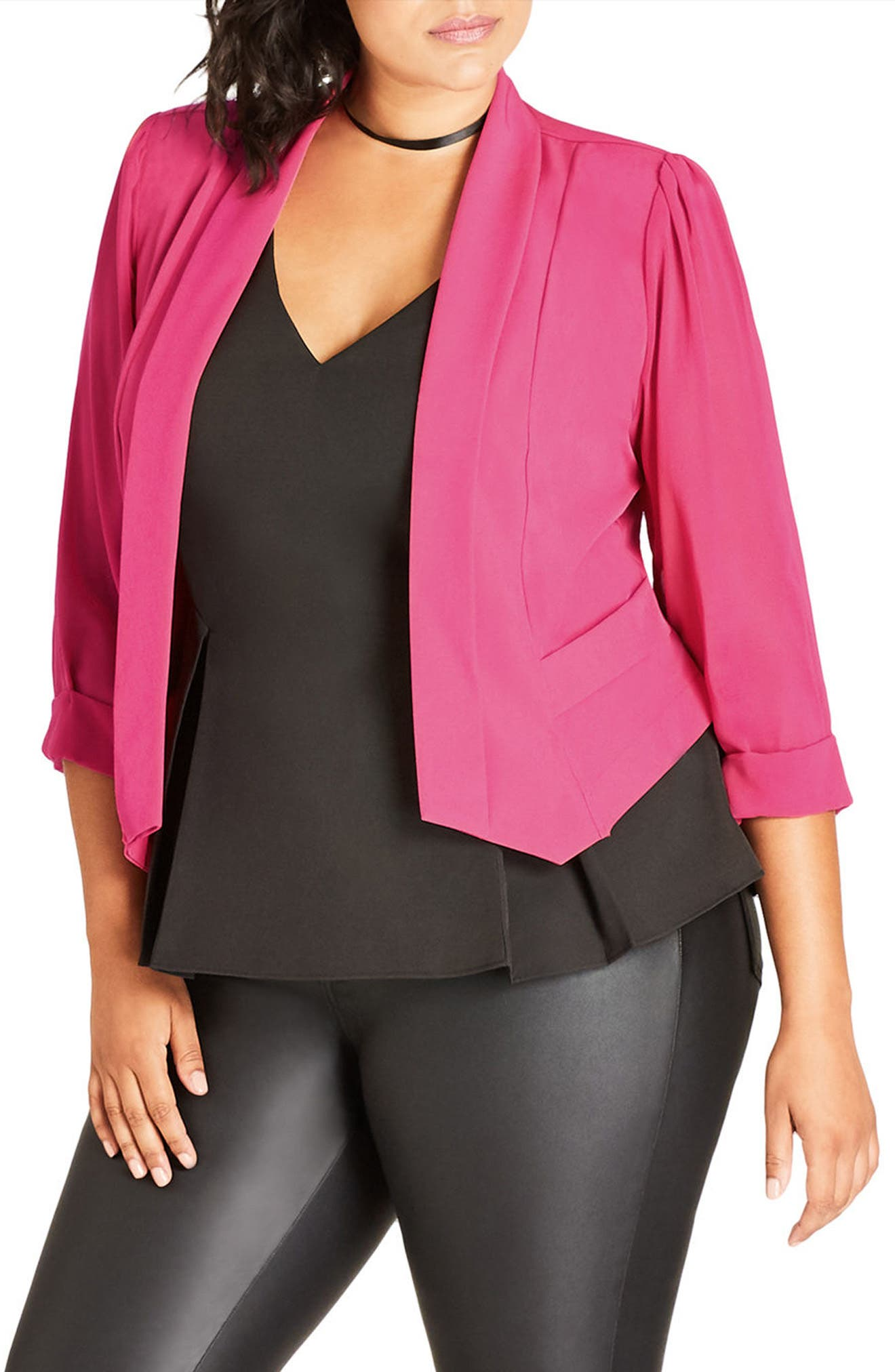 Alternate Image 1 Selected - City Chic Sheer Sleeve Crop Blazer (Plus Size)
