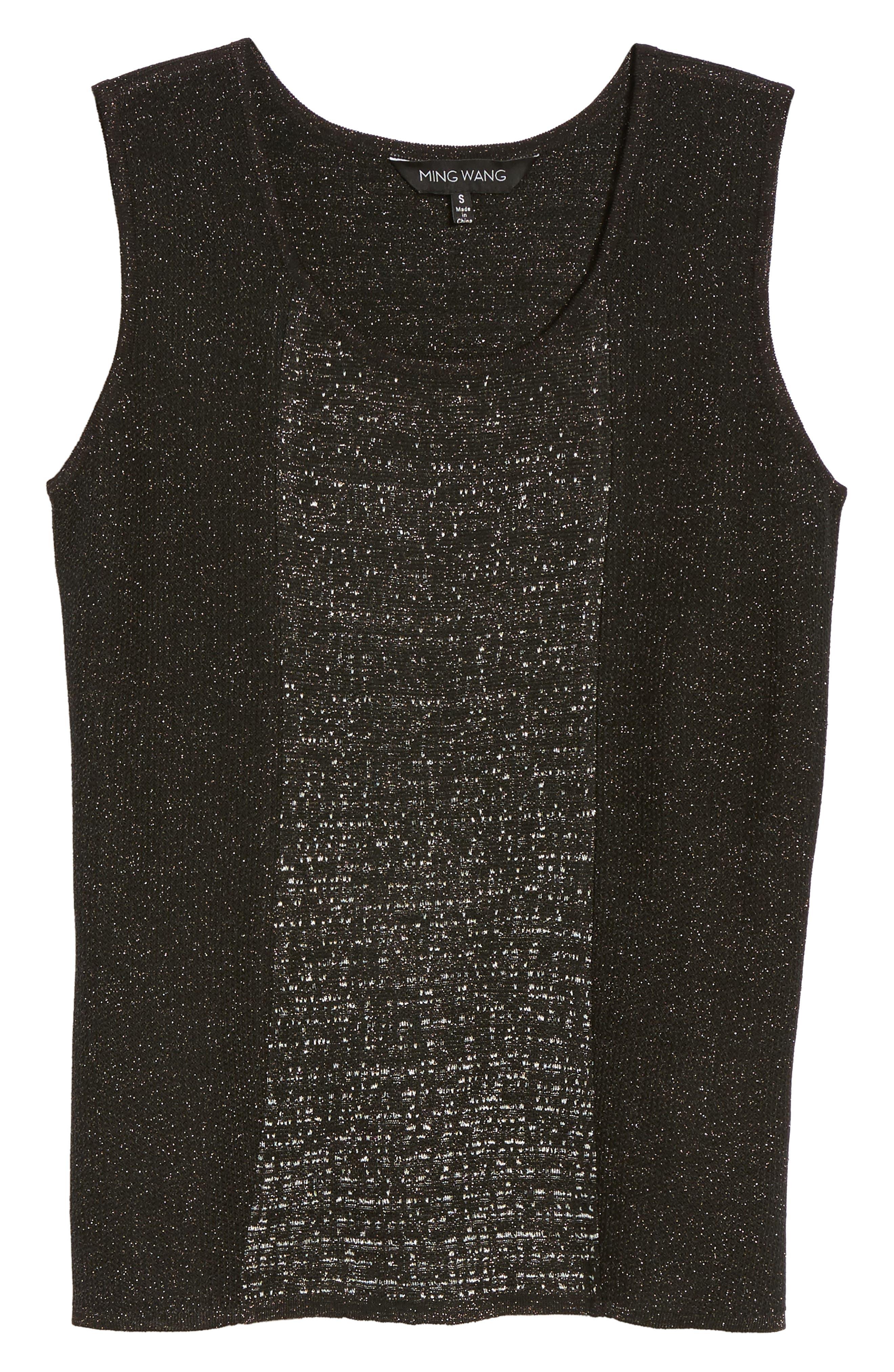 Scoop Neck Metallic Knit Tank,                             Alternate thumbnail 6, color,                             Black/ Silver
