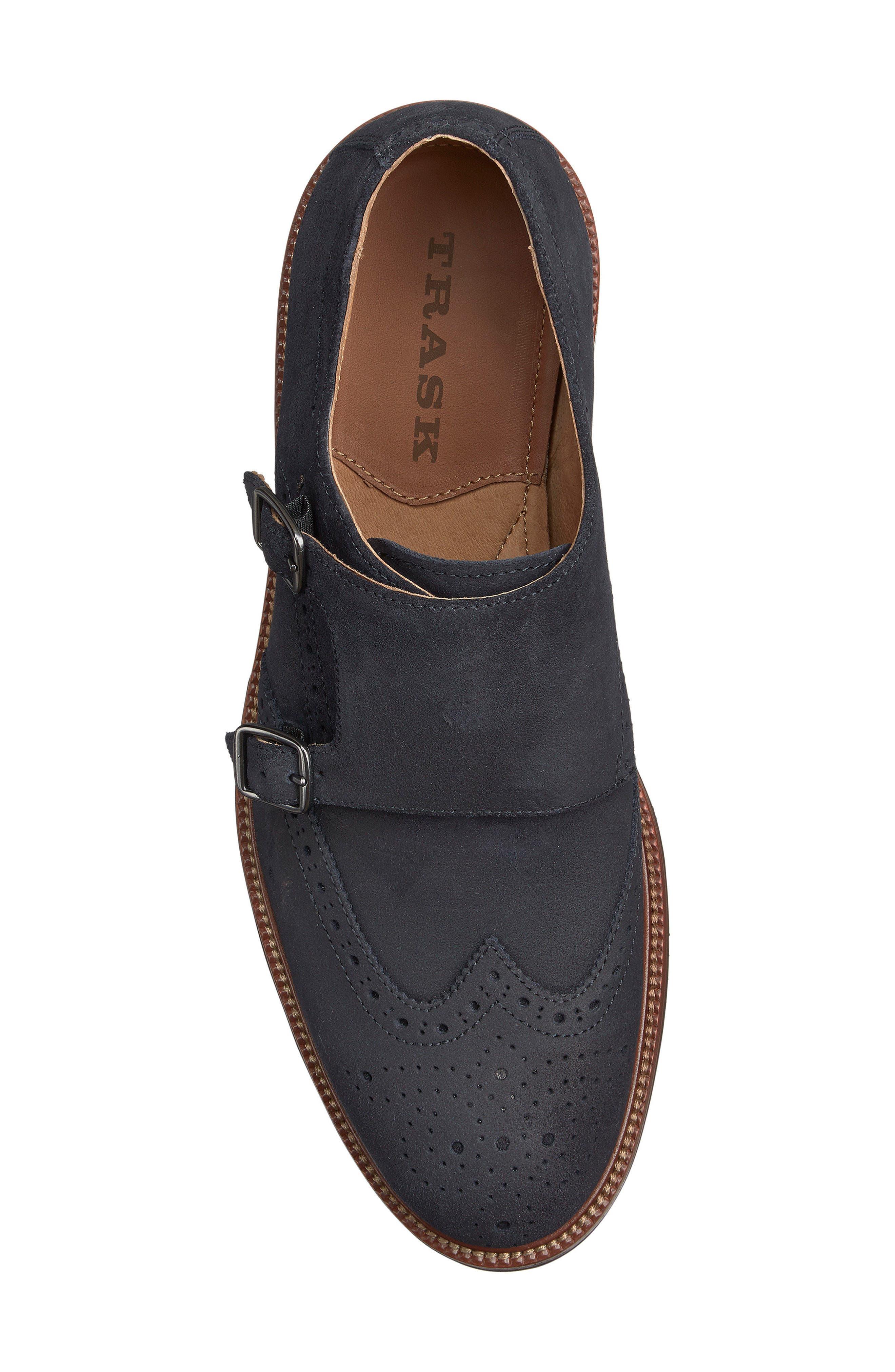 Leland Double Monk Strap Shoe,                             Alternate thumbnail 3, color,                             Navy Waxed Suede