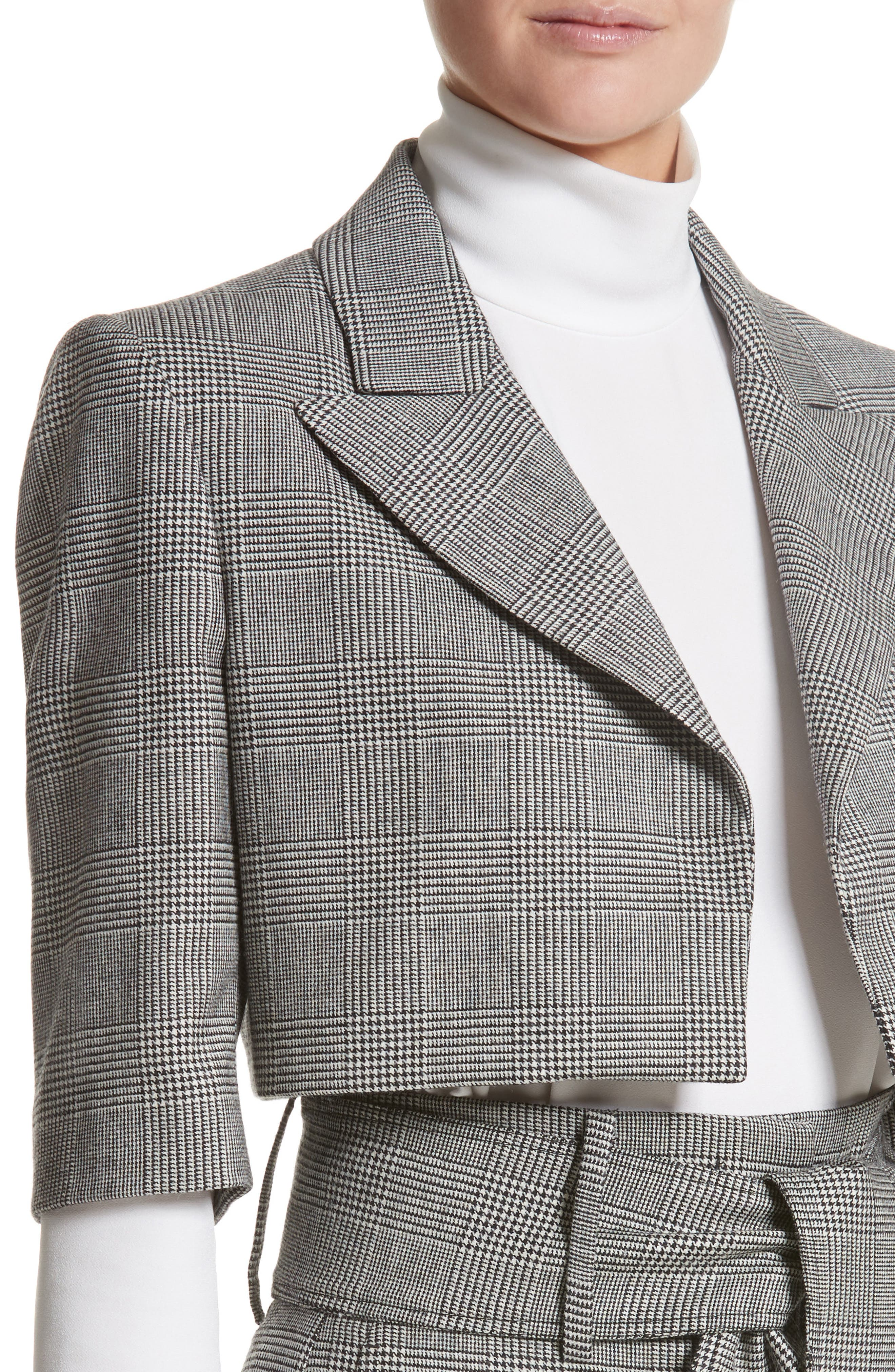 Glen Plaid Crop Jacket,                             Alternate thumbnail 6, color,                             Black/ White