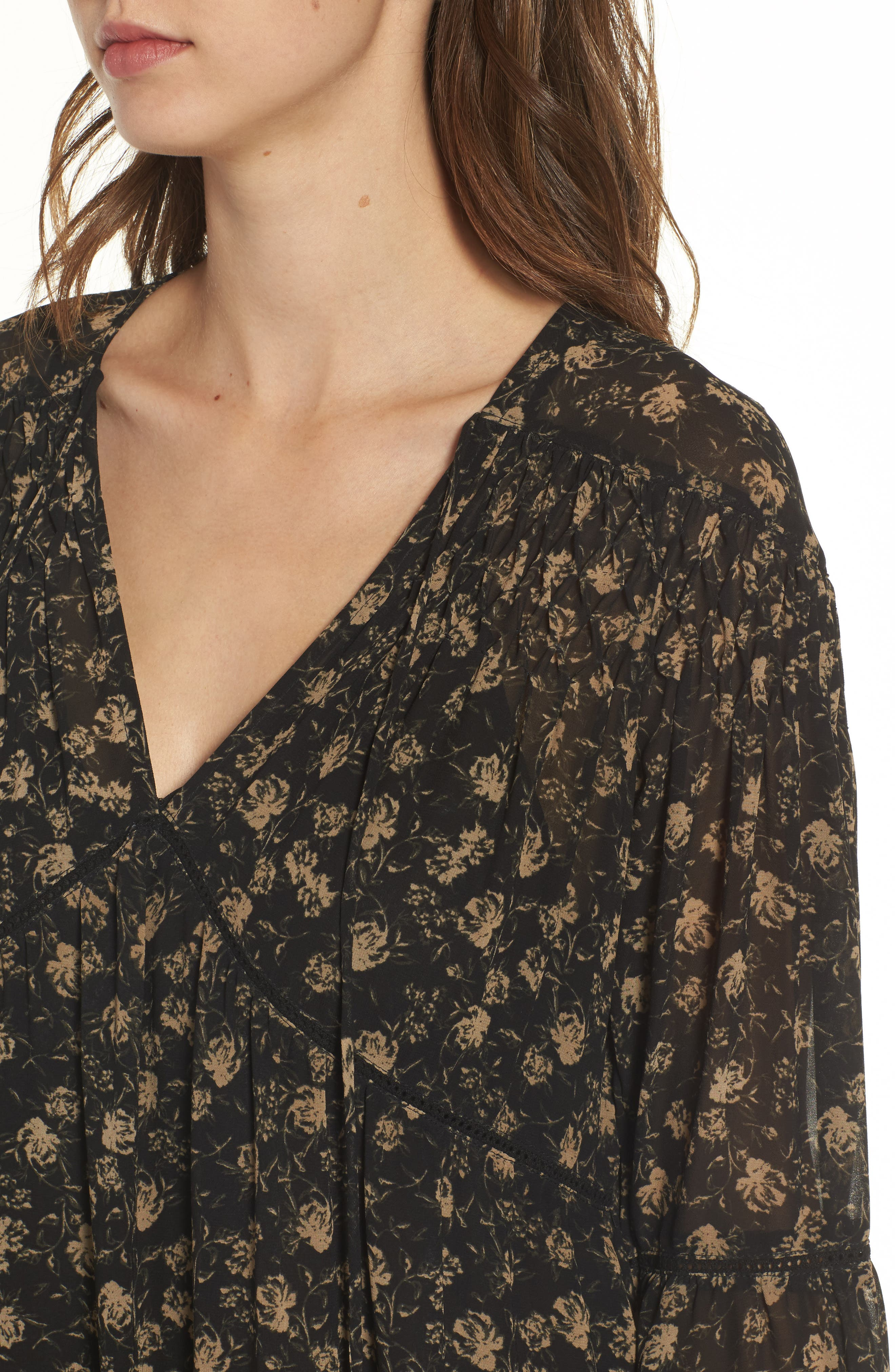 Ambrosia Shift Dress,                             Alternate thumbnail 5, color,                             Black-Tan Floral