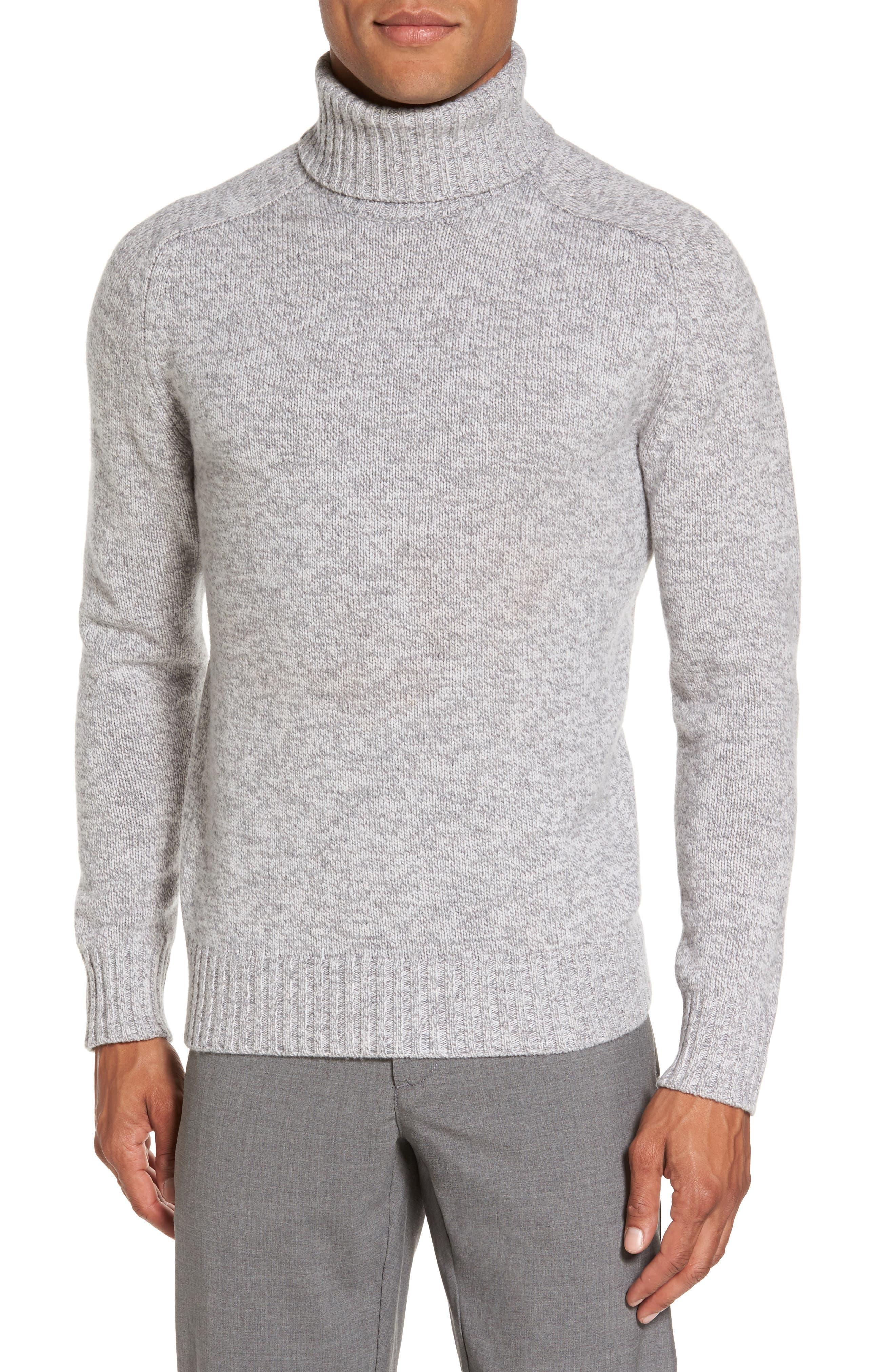 Marled Turtleneck Sweater,                         Main,                         color, Light Grey/ Dark Grey