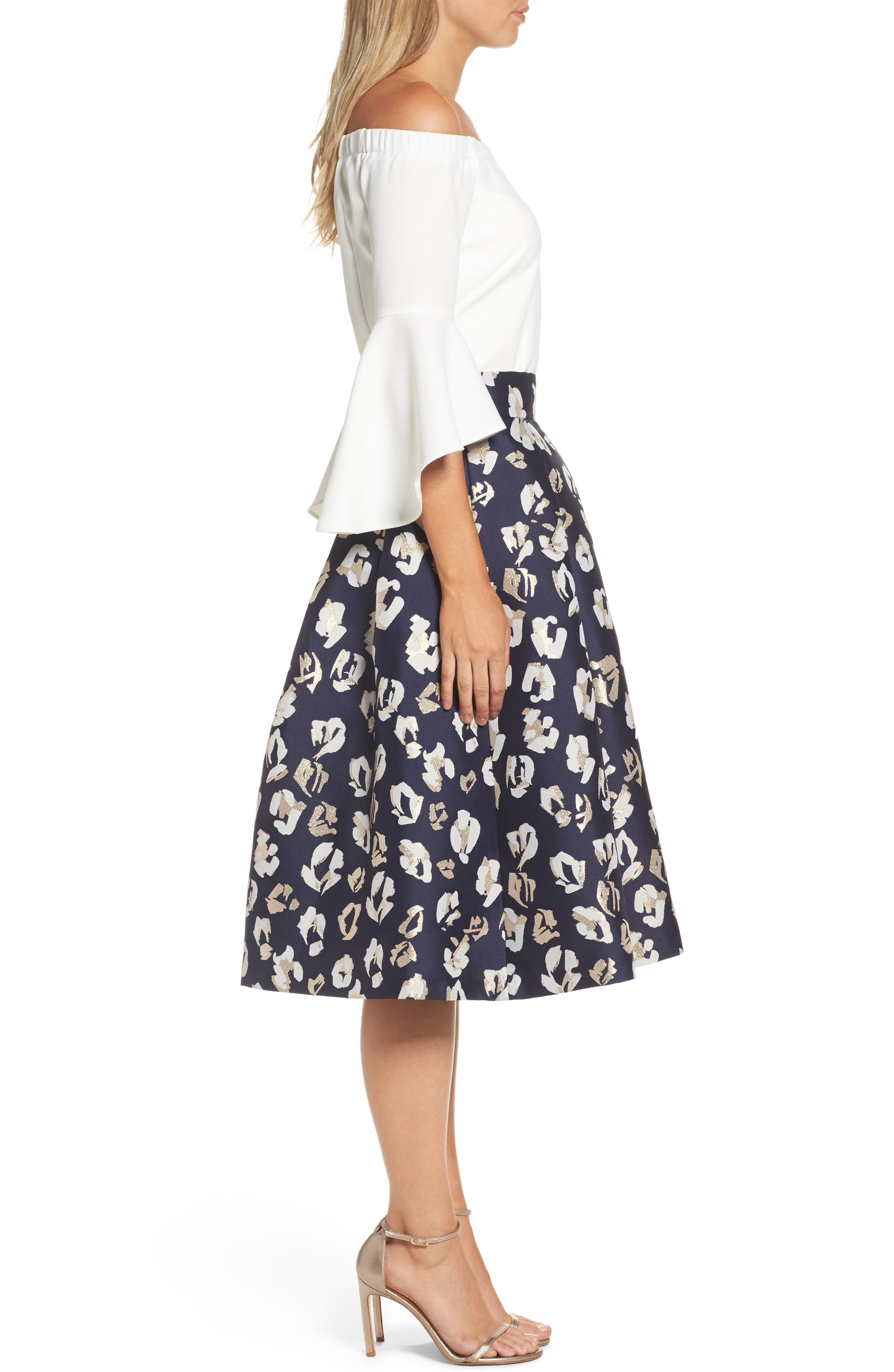 Alternate Image 4  - Eliza J Pleated Abstract Jacquard Skirt