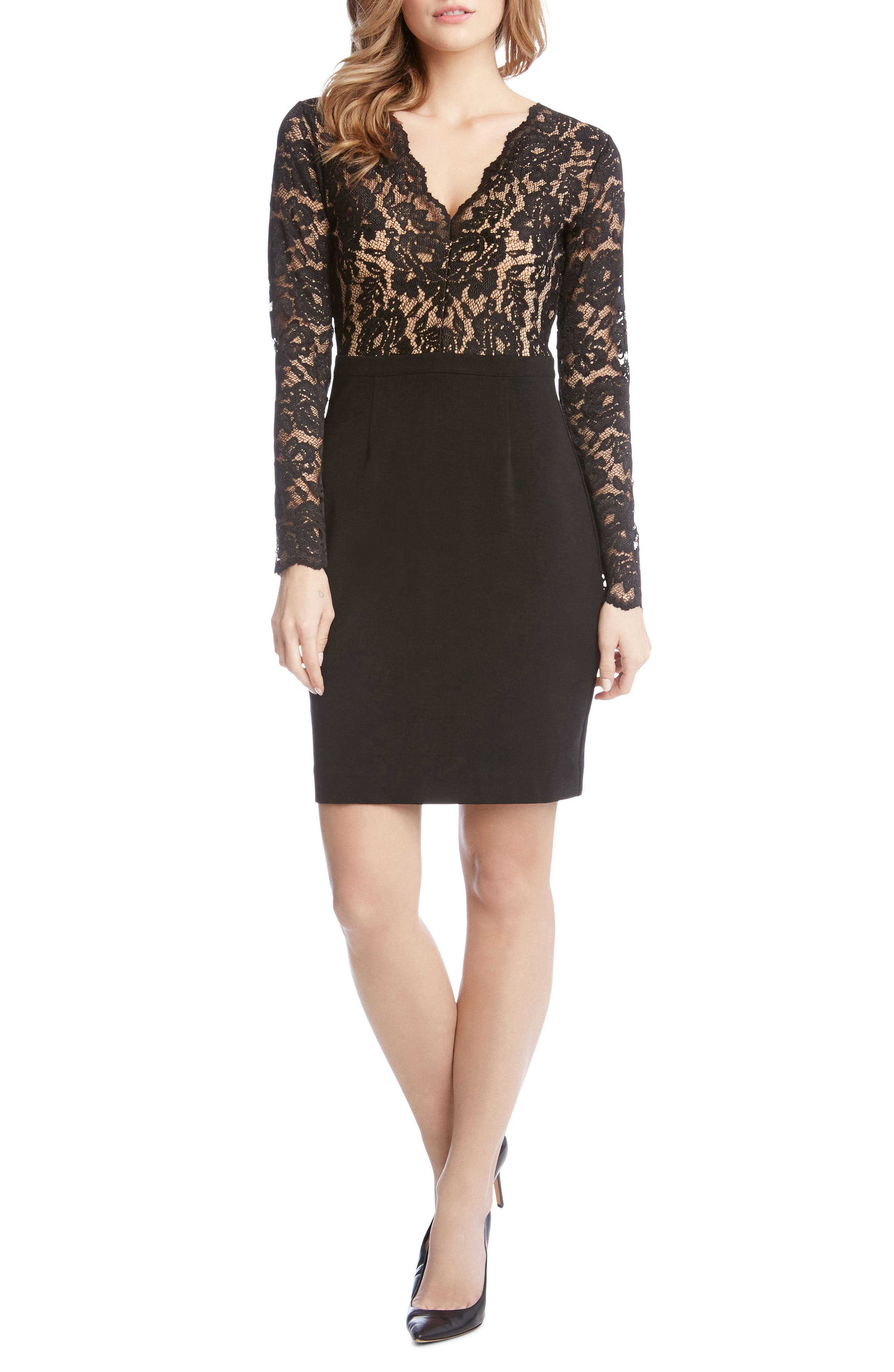 Becca Lace & Knit Sheath Dress,                         Main,                         color, Black/ Nude