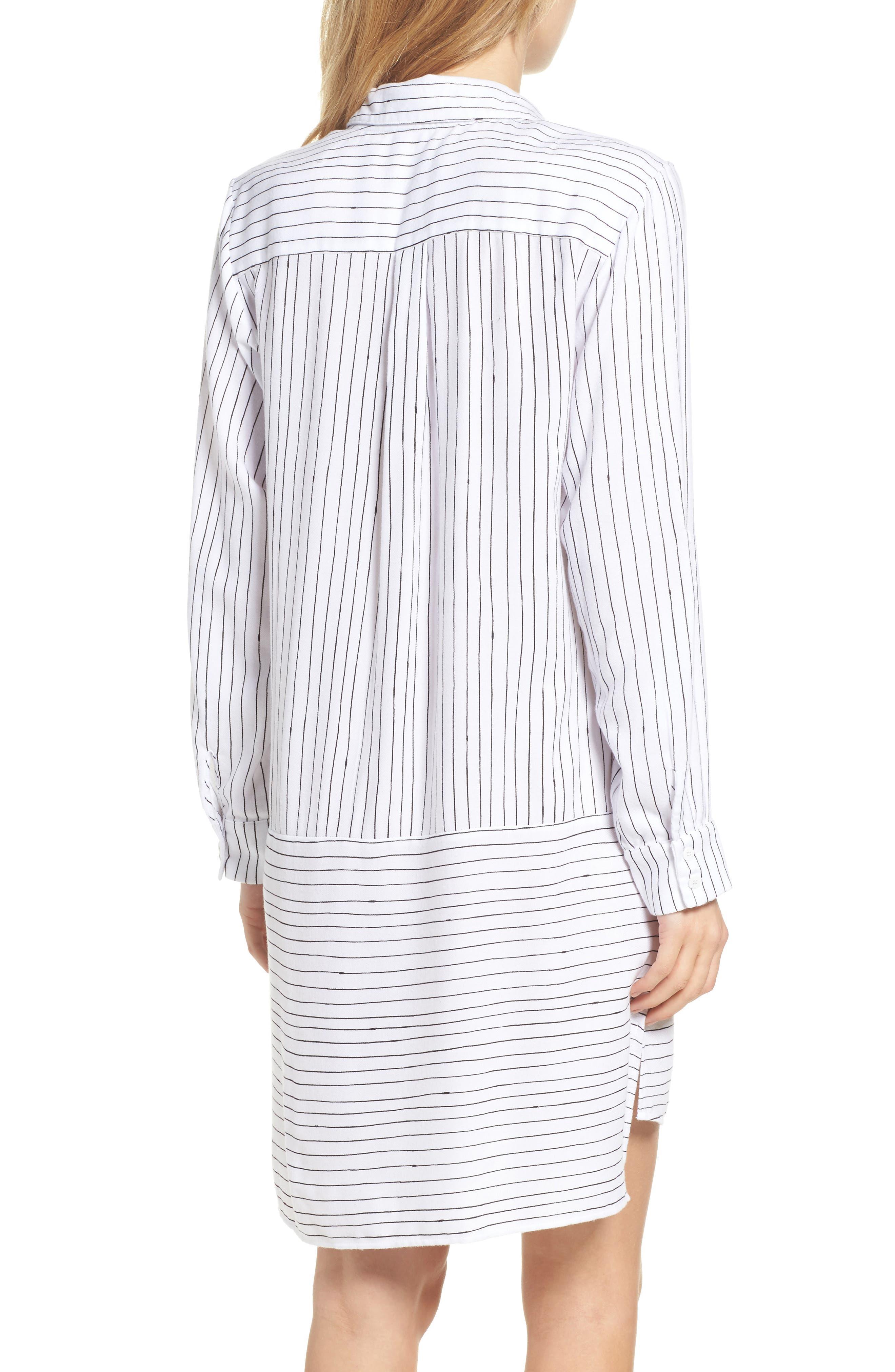 Stripe Sleep Shirt,                             Alternate thumbnail 2, color,                             White Stripe Print