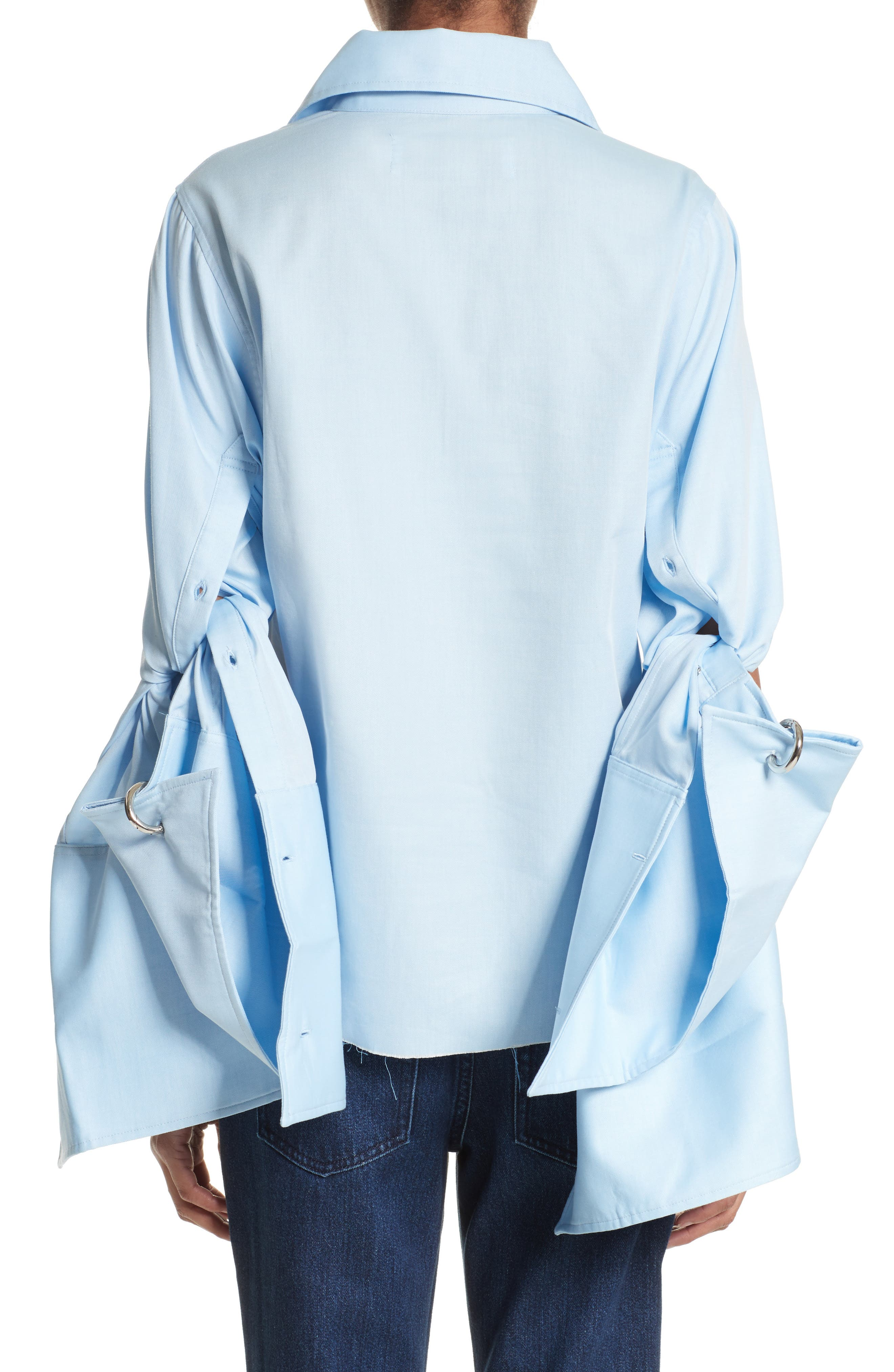 Marques'Almeida Double Sleeve Blouse,                             Alternate thumbnail 2, color,                             Light Blue