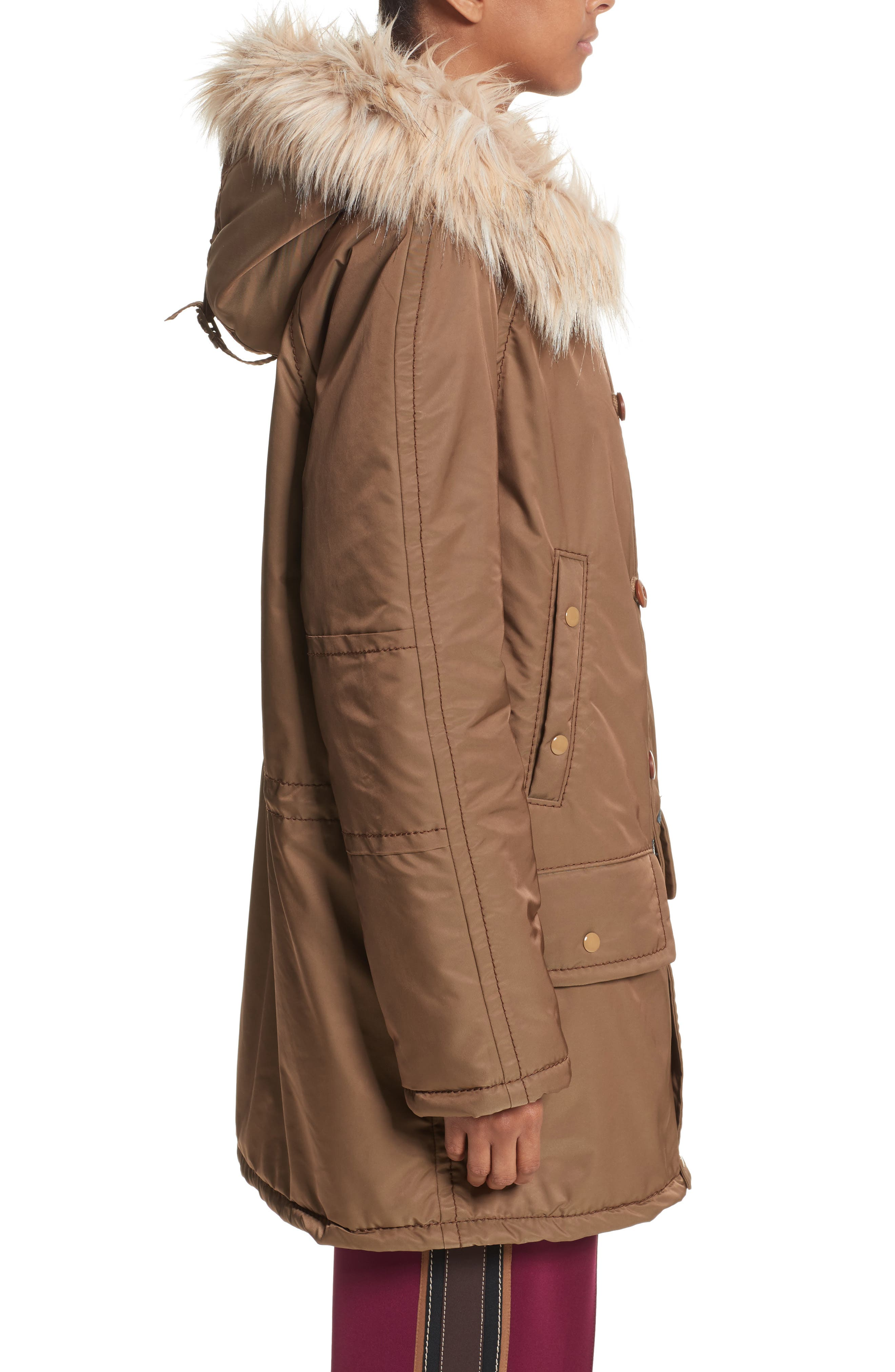 Parka with Faux Fur Trim Hood,                             Alternate thumbnail 3, color,                             Brown