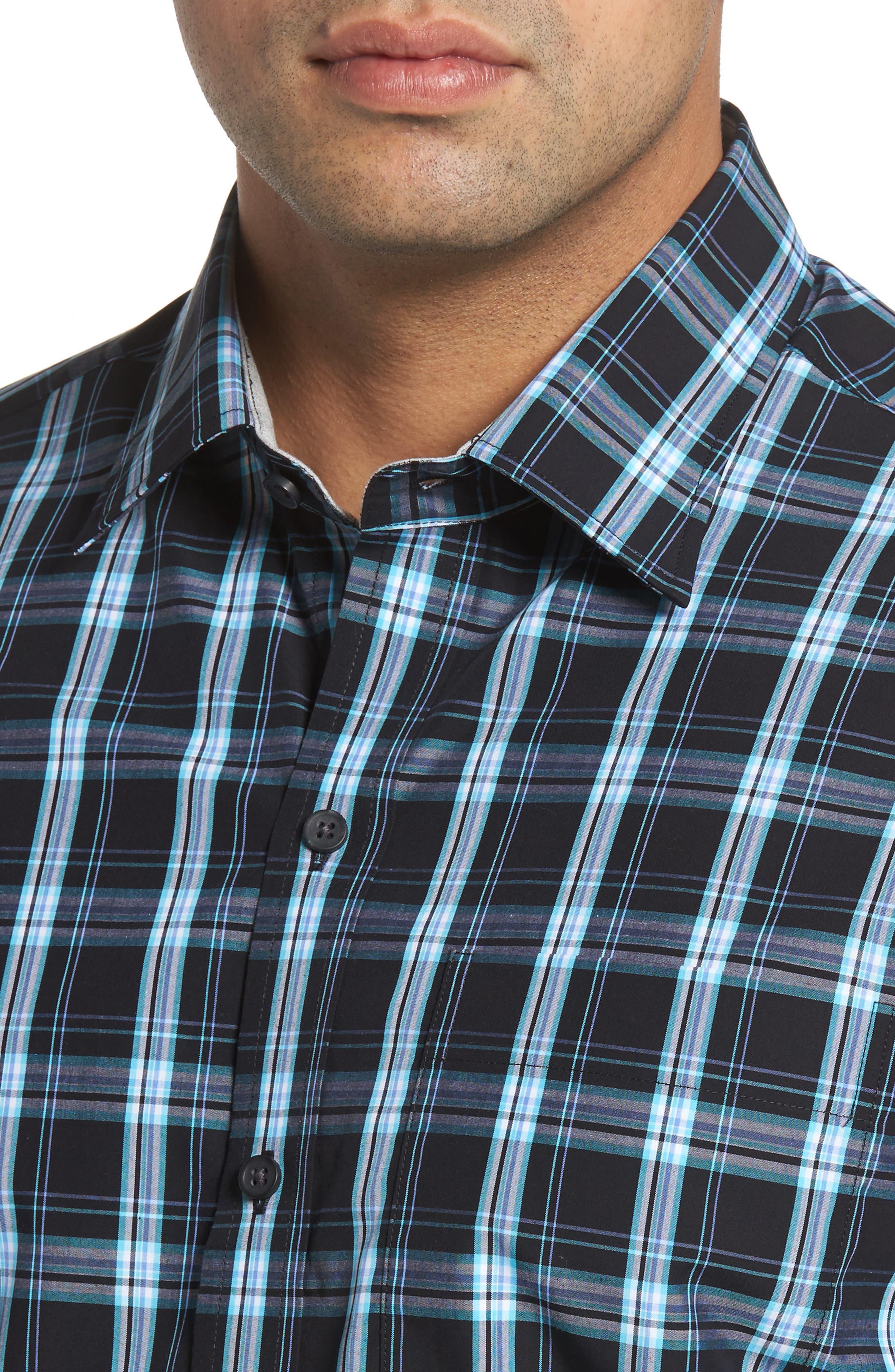 Summerland Non-Iron Plaid Sport Shirt,                             Alternate thumbnail 4, color,                             Wisteria