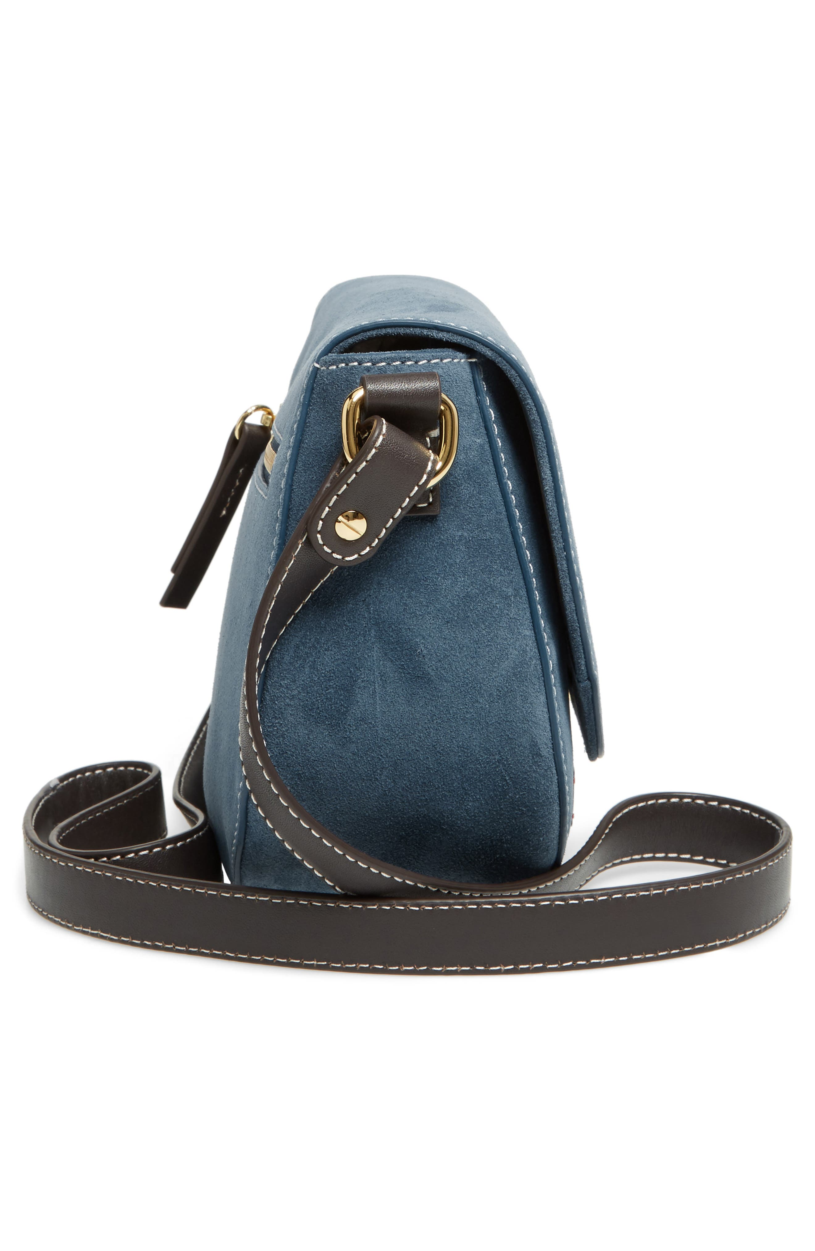 Mini Ellen Suede Crossbody Bag,                             Alternate thumbnail 5, color,                             Dark Teal