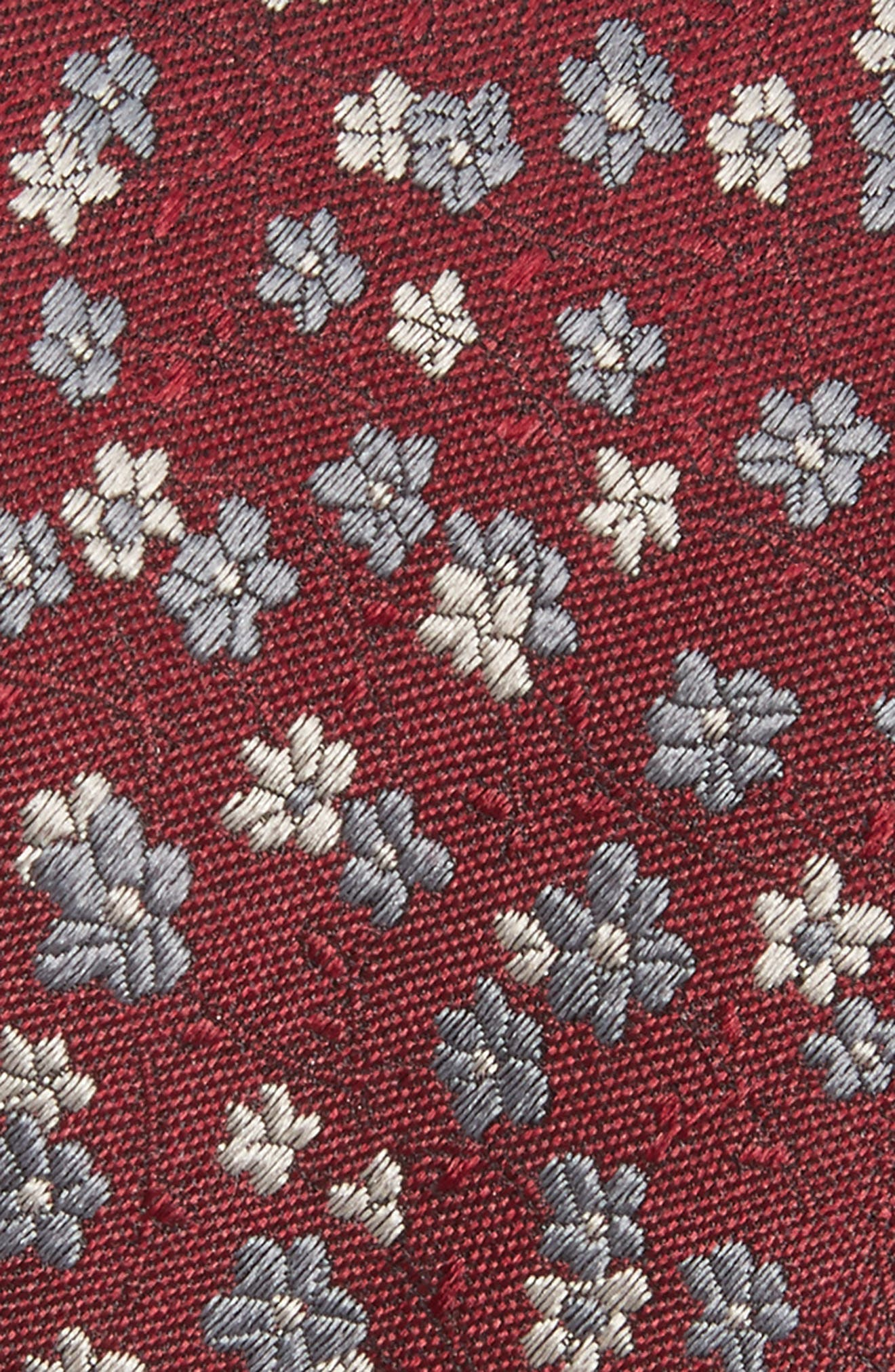 Freefall Floral Silk Tie,                             Alternate thumbnail 2, color,                             Burgundy