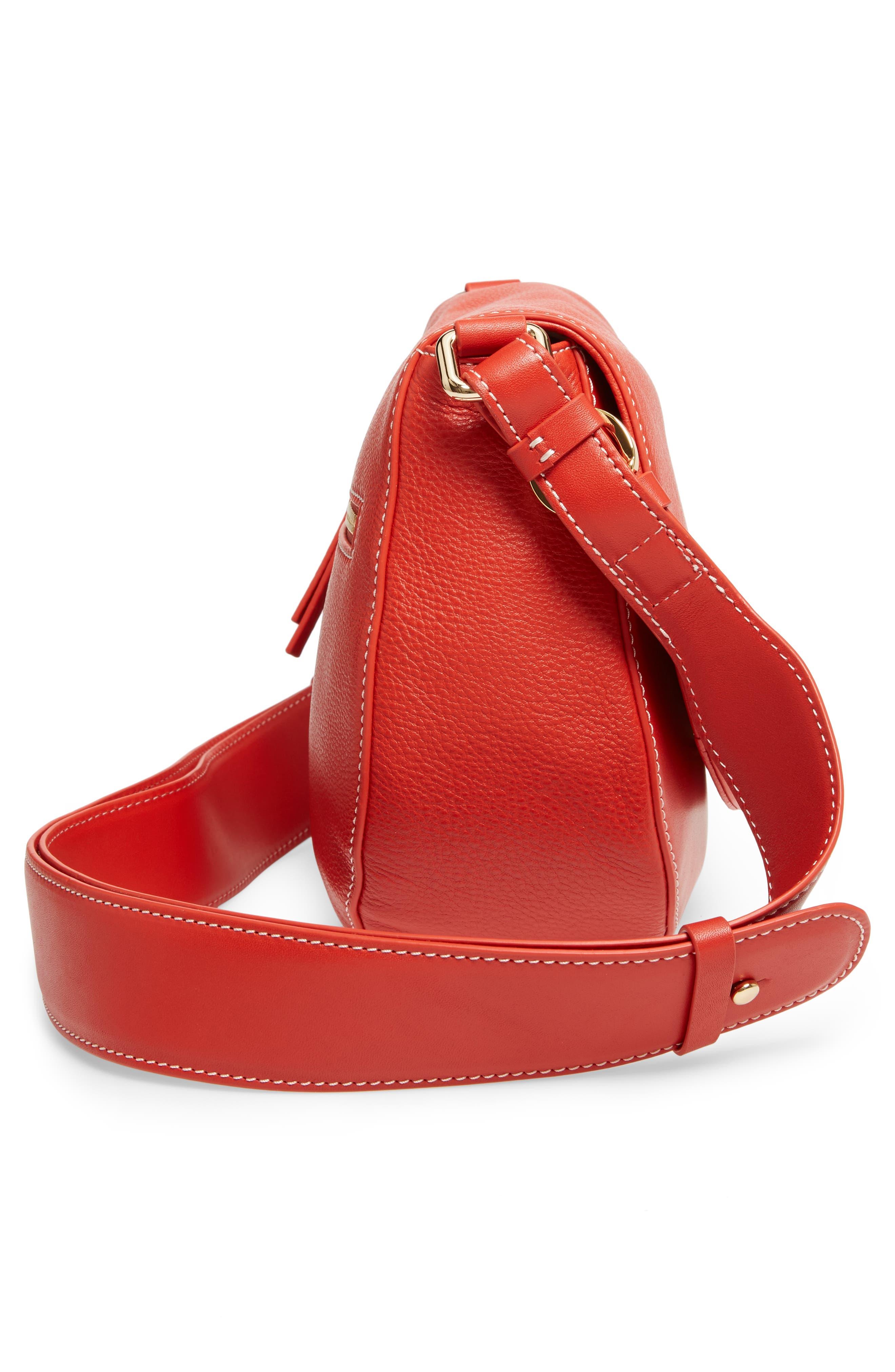 Small Ellen Leather Crossbody Bag,                             Alternate thumbnail 5, color,                             Coral