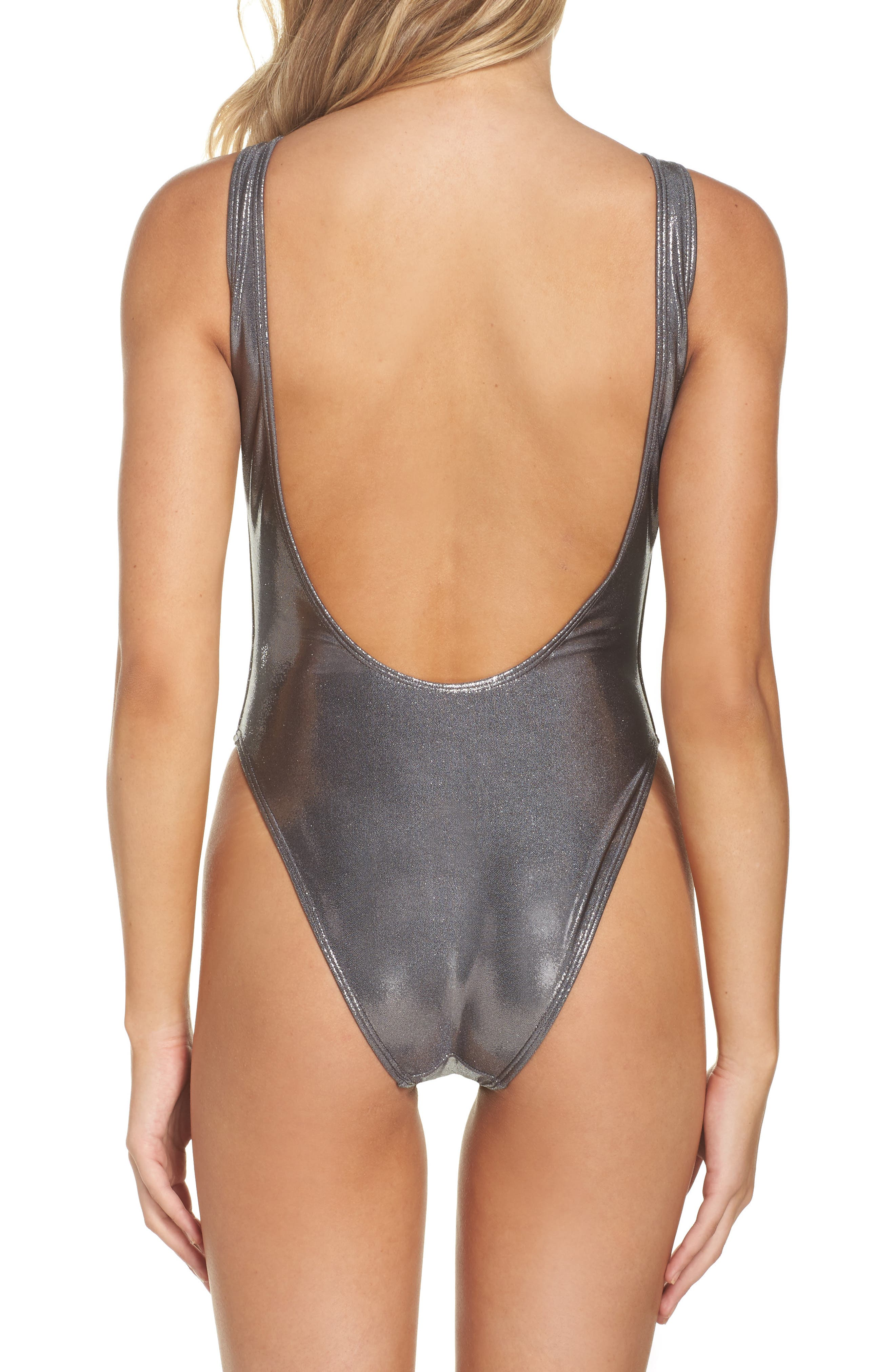 Alternate Image 2  - Private Party Chasing Waterfalls Metallic One-Piece Swimsuit