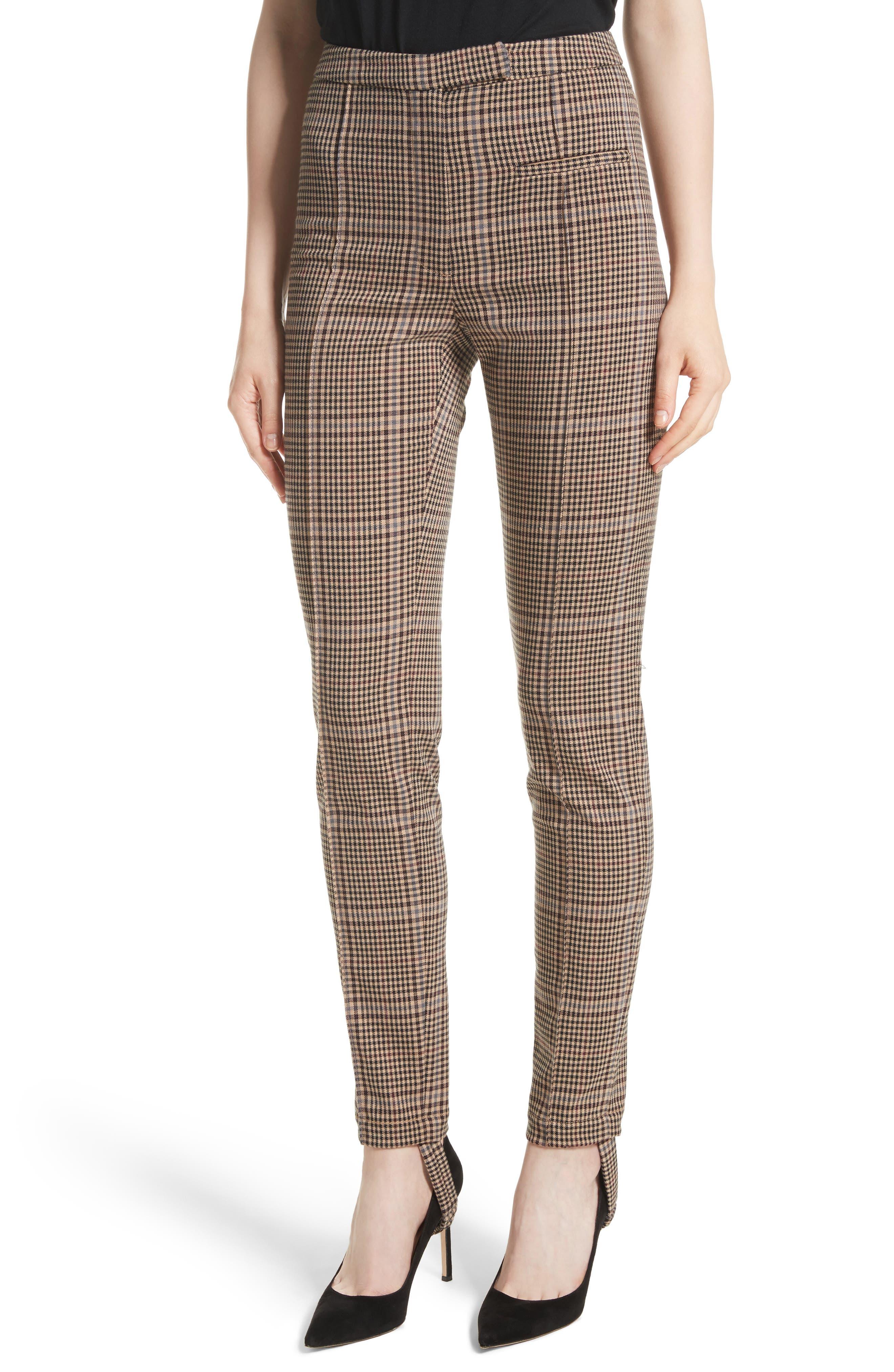 Plaid Stirrup Pants,                         Main,                         color, Camel Multi