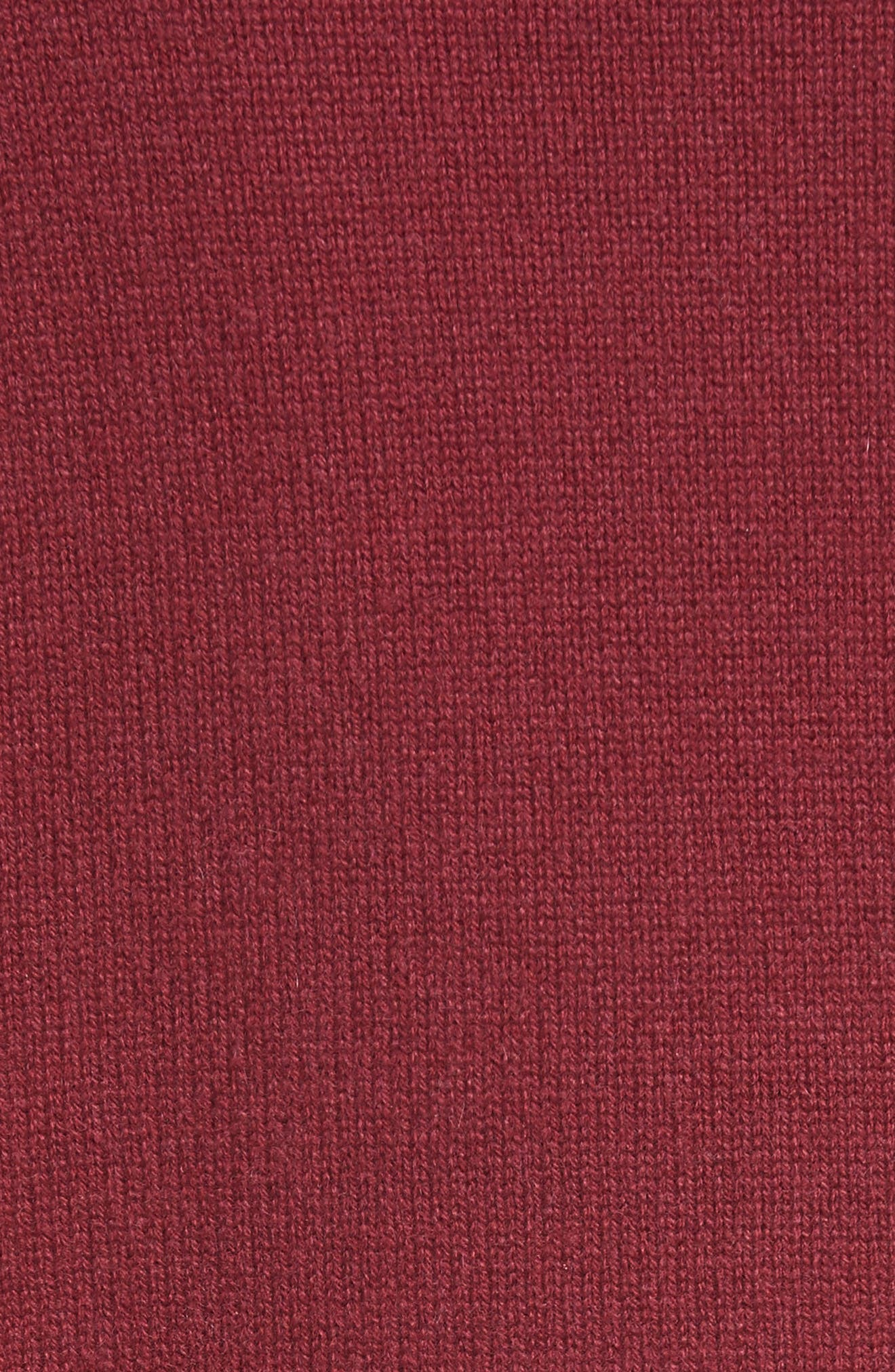 Cashmere Turtleneck Sweater,                             Alternate thumbnail 5, color,                             Cherry
