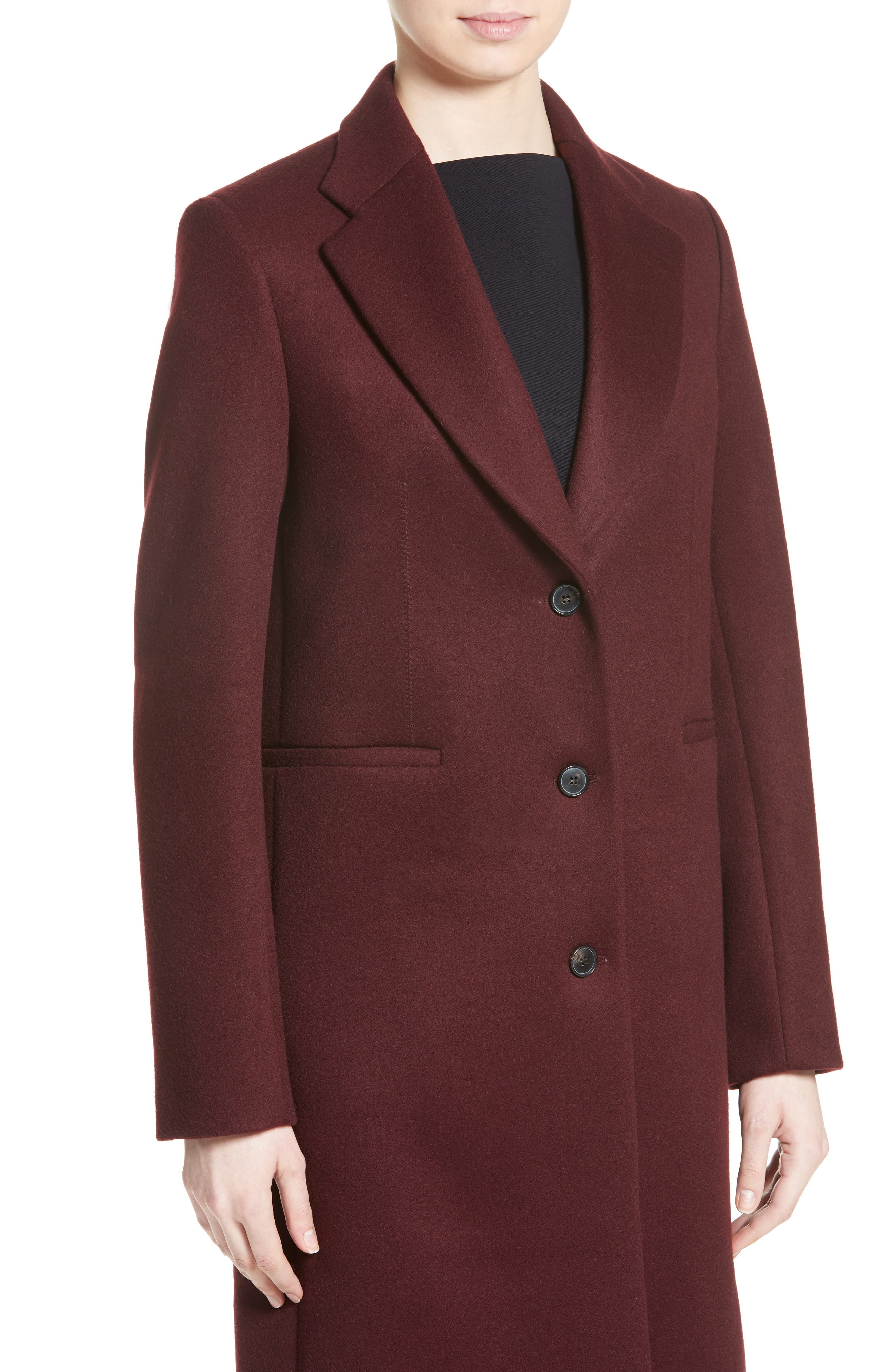 Bonded Felt Coat,                             Alternate thumbnail 4, color,                             Wine-Raspberry