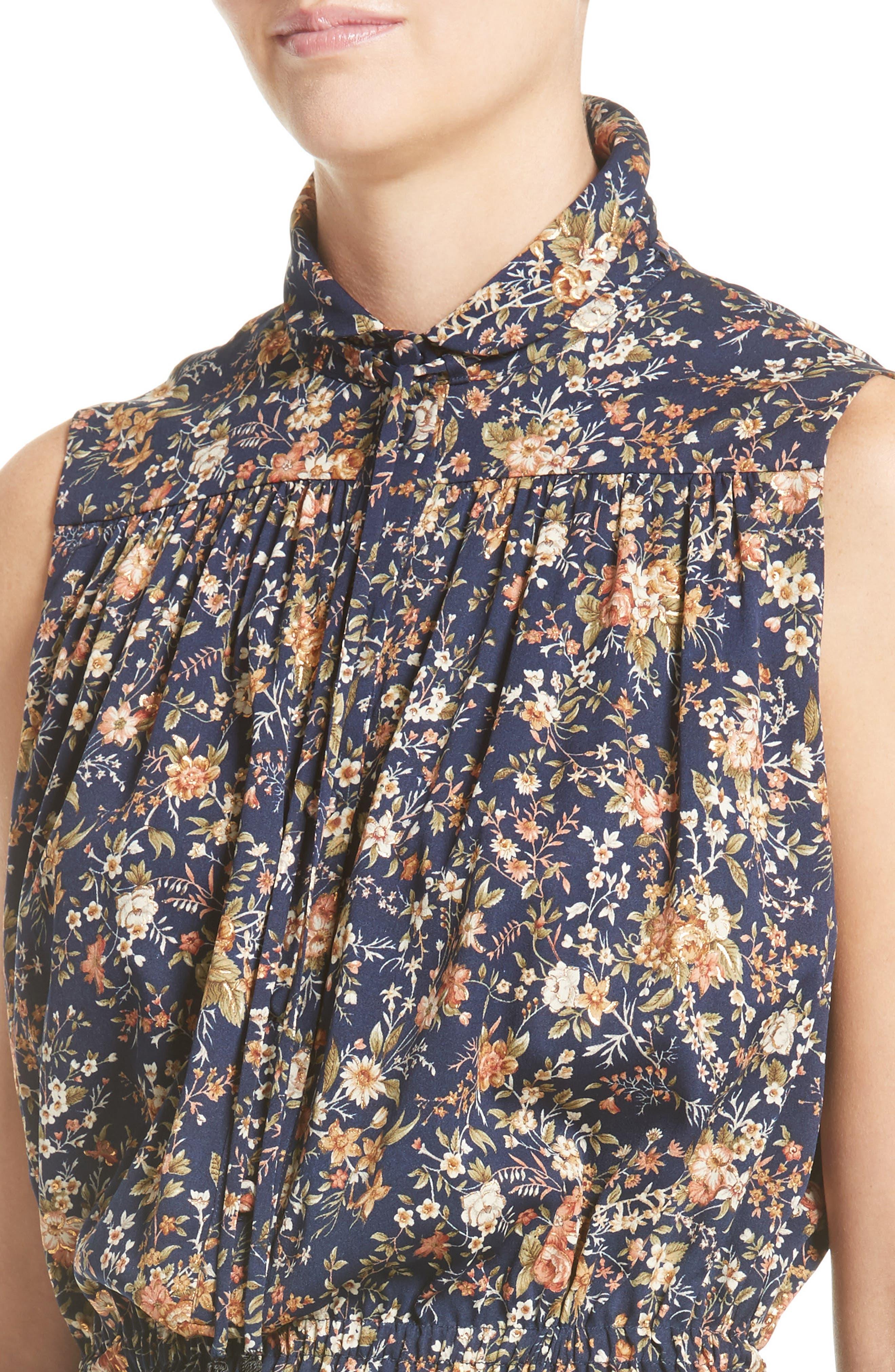 Floral Print Silk Dress,                             Alternate thumbnail 4, color,                             Navy